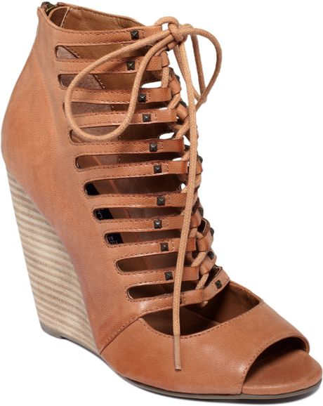 steve madden simmona wedge sandals in brown cognac lyst