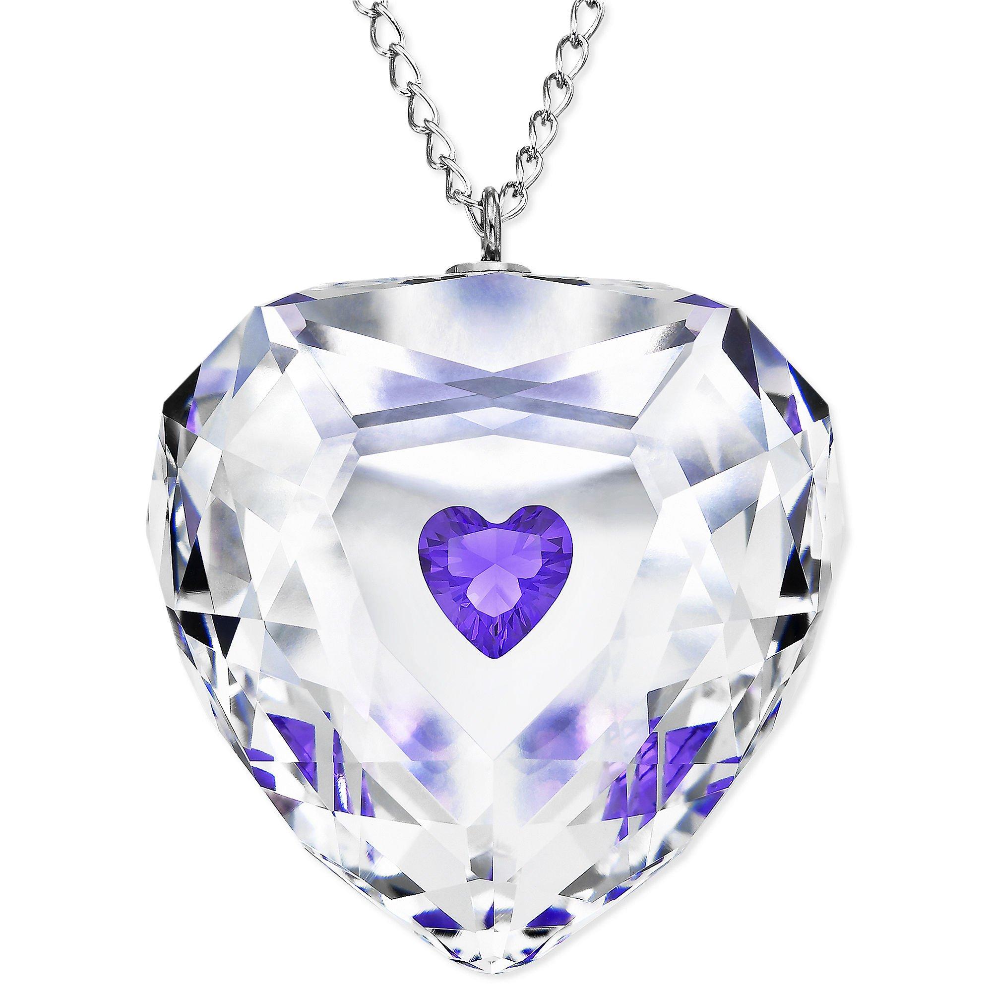 swarovski rhodium plated violet truthful heart crystal. Black Bedroom Furniture Sets. Home Design Ideas