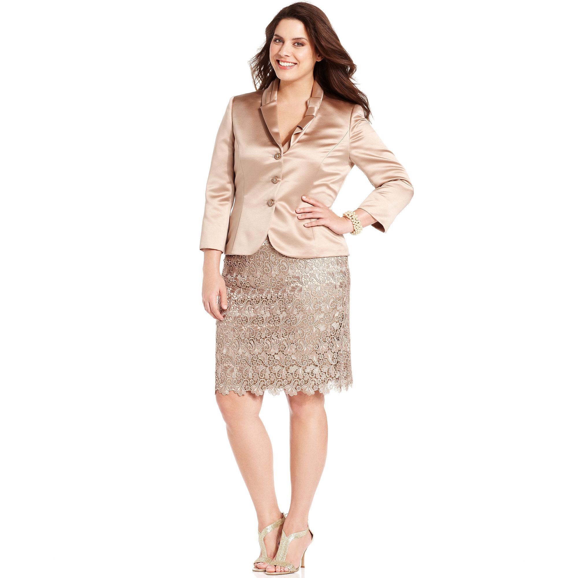 Lyst Tahari Threequartersleeve Satin Jacket Lace Skirt In Natural