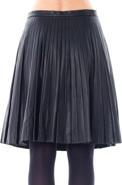 theory pleated leather skirt in black lyst