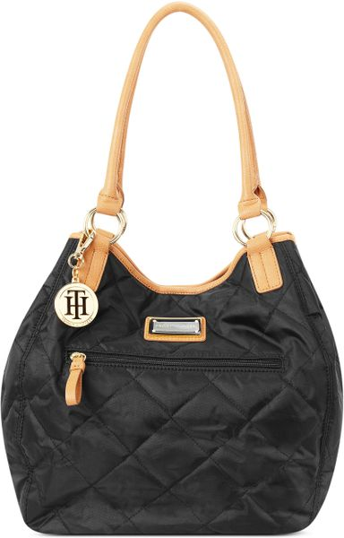 Tommy Hilfiger Stitched Nylon Tote In Black Lyst