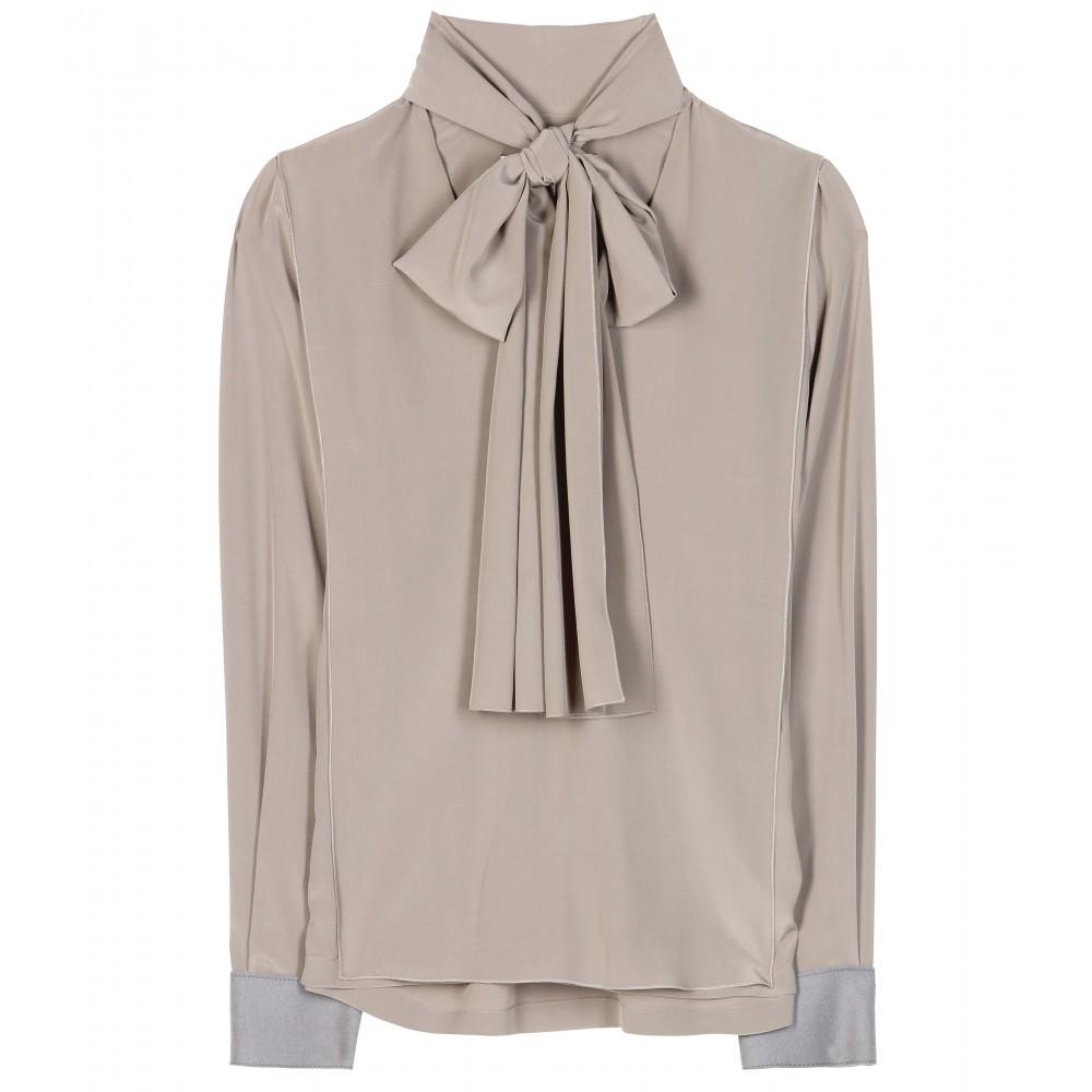 c188de8a51cb9e Lyst - Victoria Beckham Pussy Bow Silk Blouse in Gray