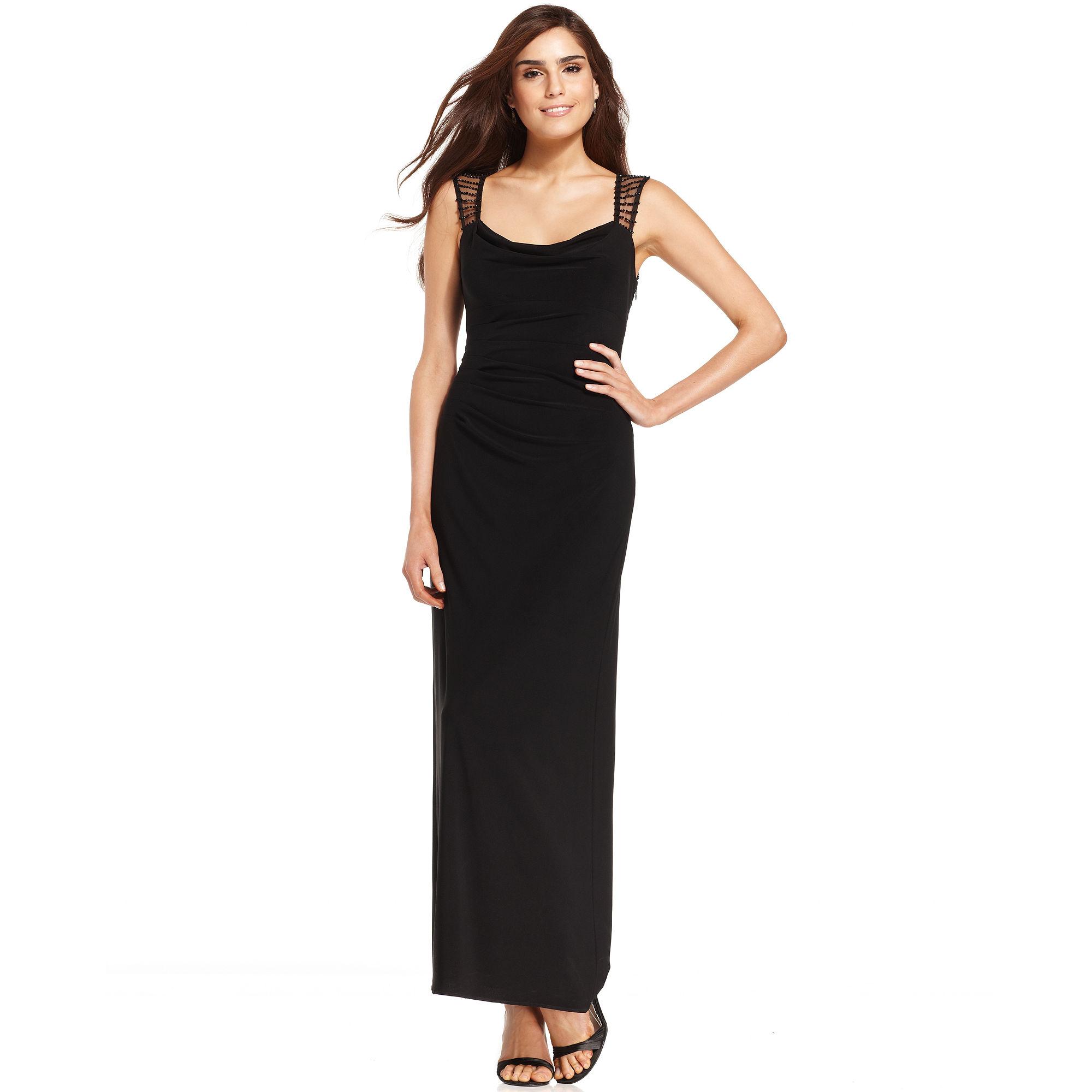 Xscape Xscape Petite Dress Sleeveless Beaded Cowl neck Gown in Black ...