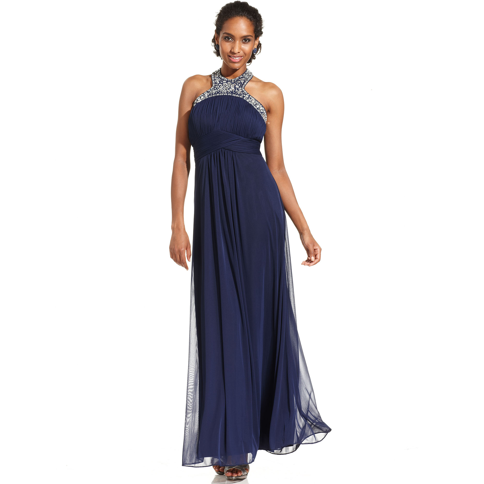 Xscape Xscape Dress Sleeveless Jeweled Halter Gown in Blue ...