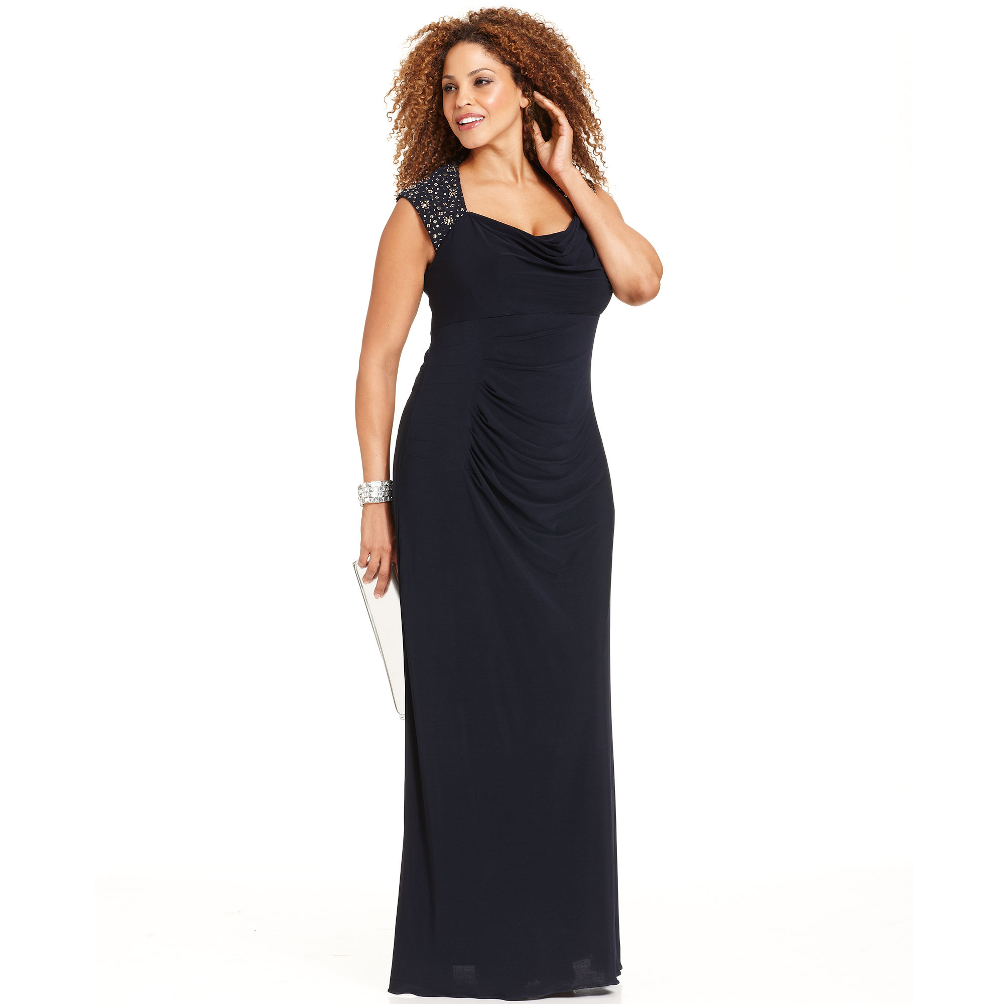 cadabc2023d17 Lyst - Xscape Xscape Plus Size Dress Capsleeve Beaded cutout Gown in ...