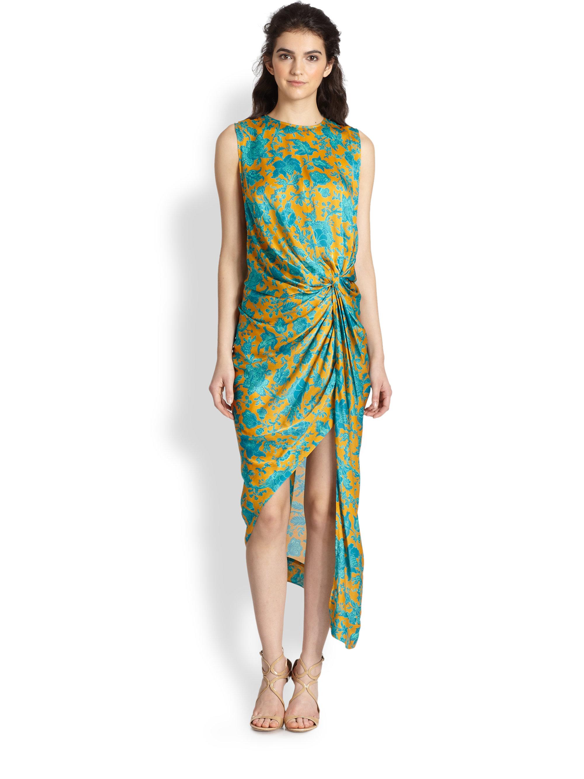 Zimmermann Silk Asymmetric Draped Dress In Green Floral