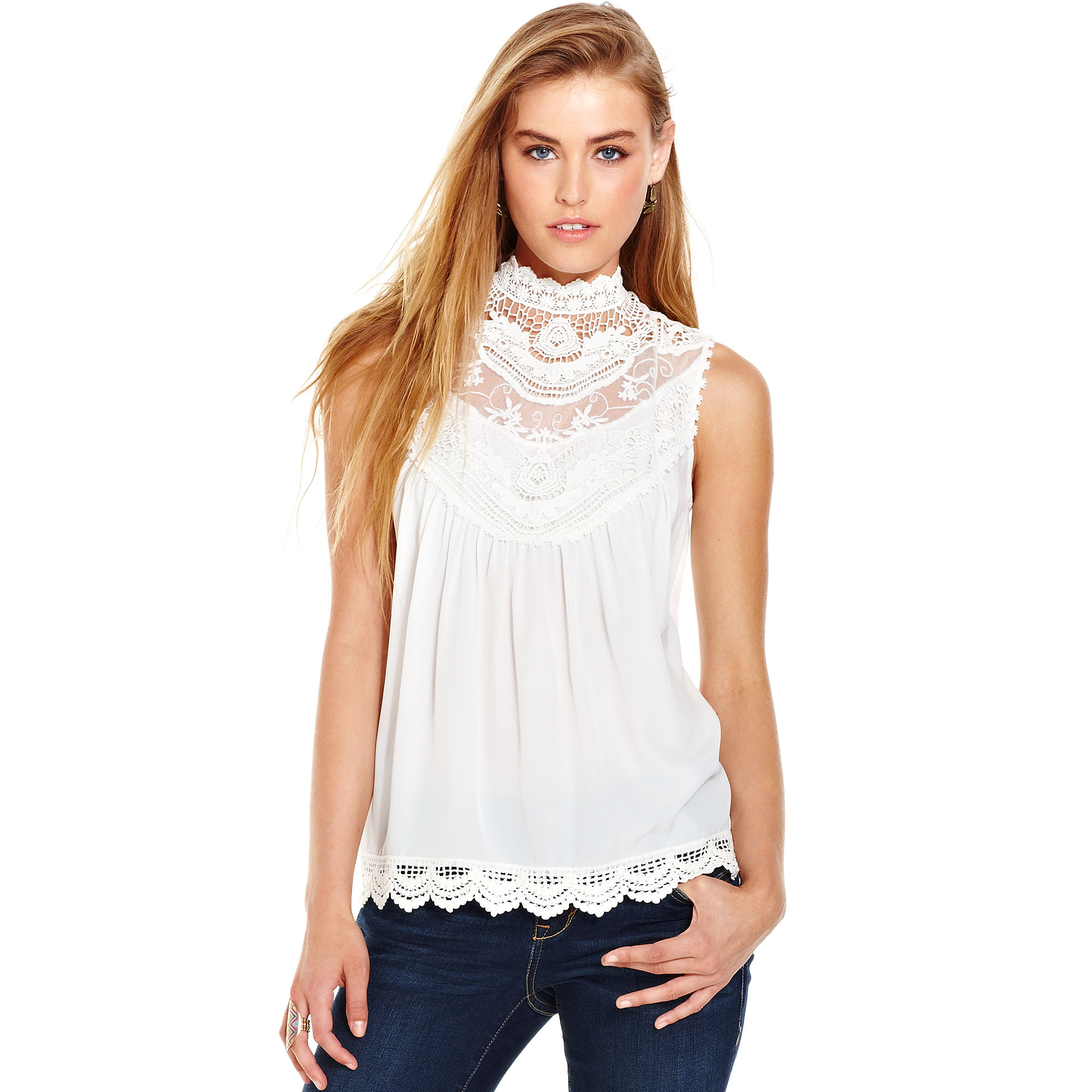 american rag sleeveless lace mock turtleneck in white one