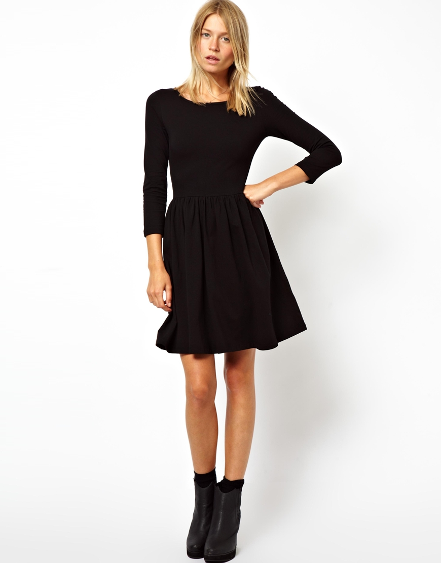 Asos Skater Dress With Slash Neck And 3/4 Sleeves in Black - Save ...