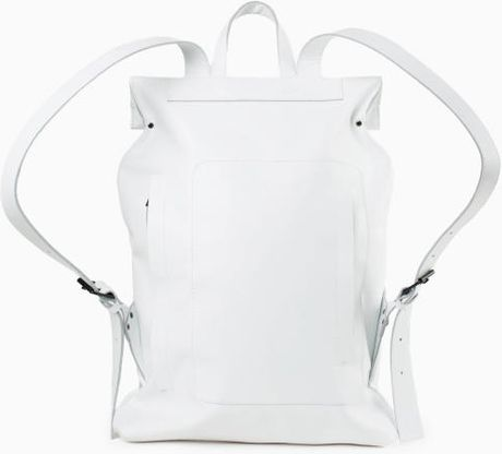 Asya Malbershtein White Leather Rectangular Backpack With