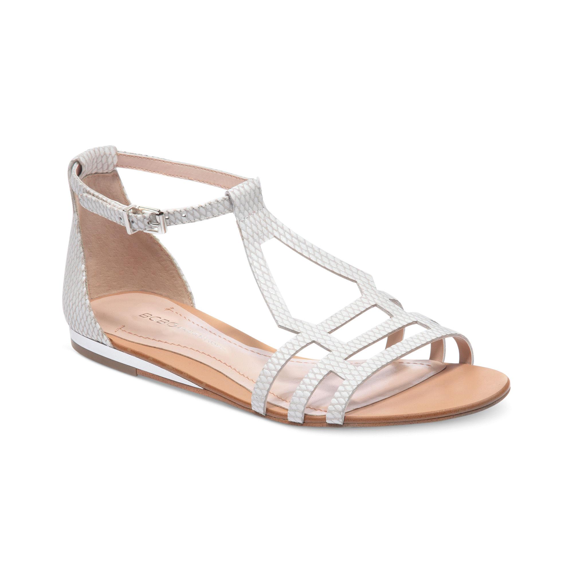 Lyst Bcbgeneration Fabeena Flat Sandals In Metallic