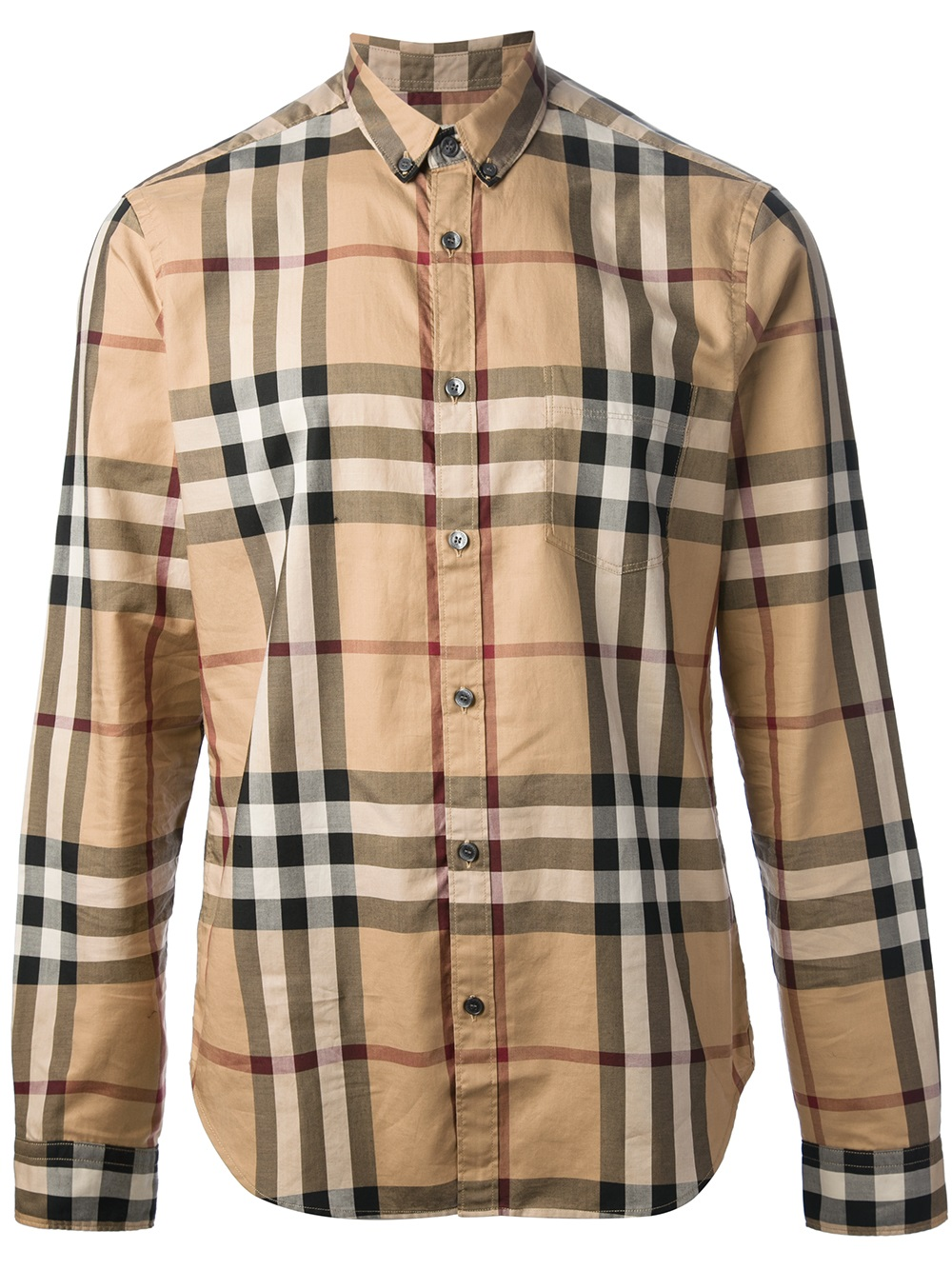 Burberry brit checked shirt in natural for men lyst for Burberry brit checked shirt