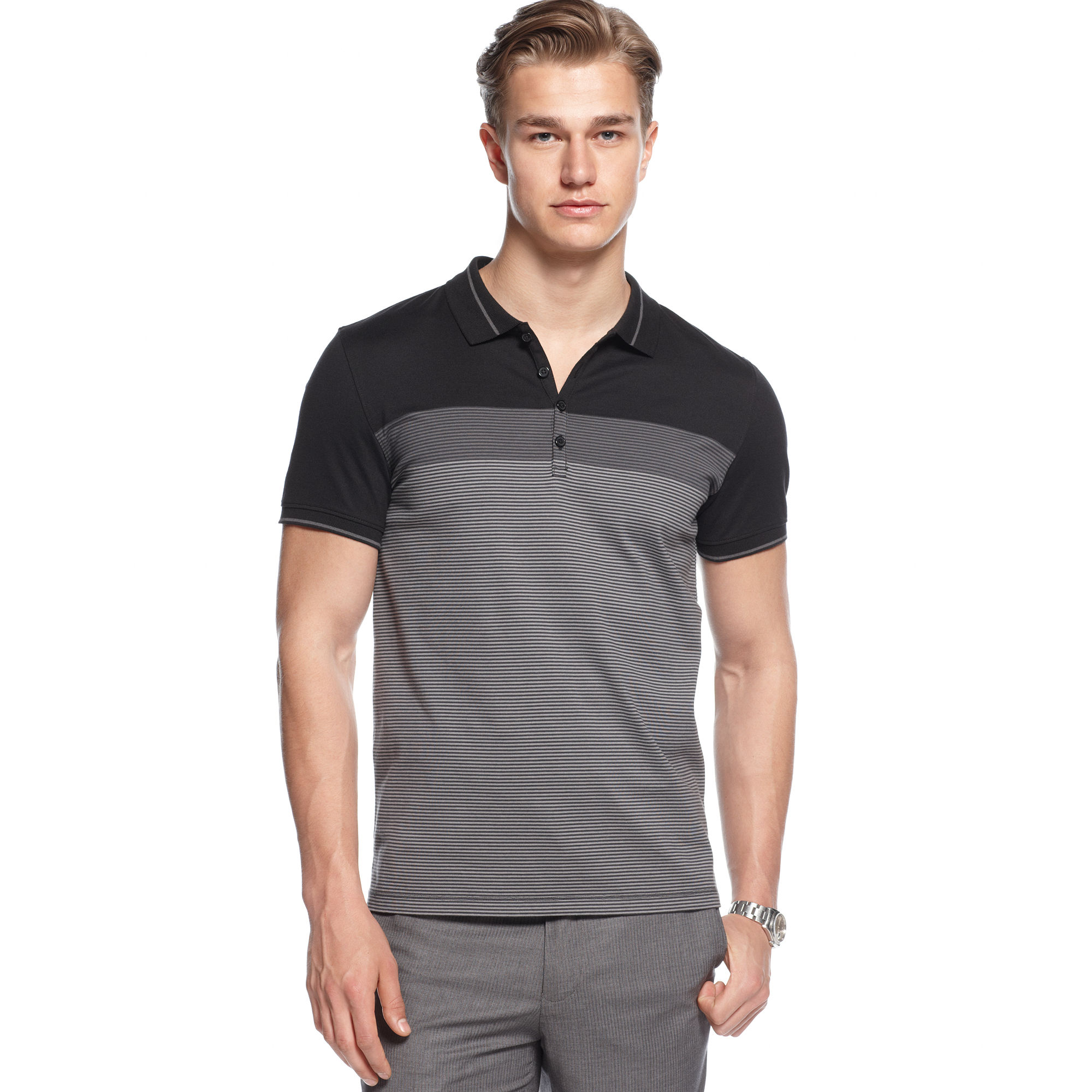 Lyst Calvin Klein Short Sleeve Slim Fit Stretch Polo Shirt In