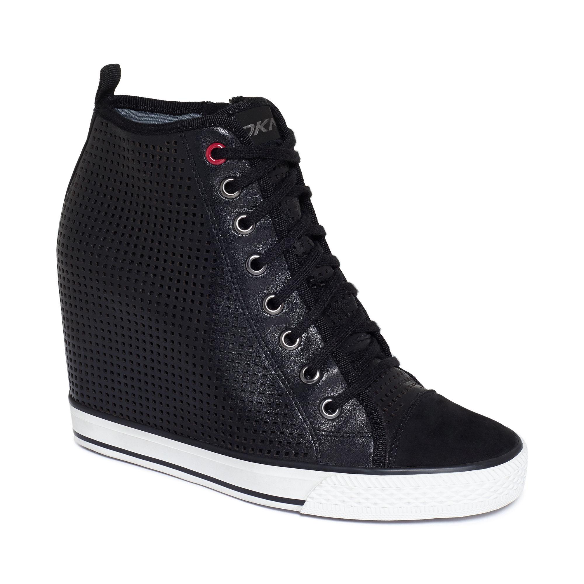 DKNY Grommet Wedge Sneakers in Black - Lyst