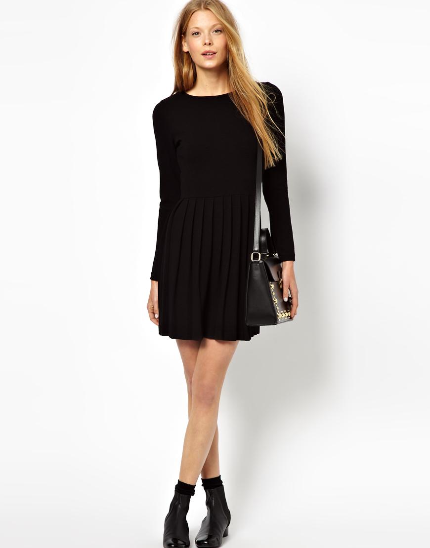 Lyst Ganni Miss Marple Dress With Pleated Skirt In Black