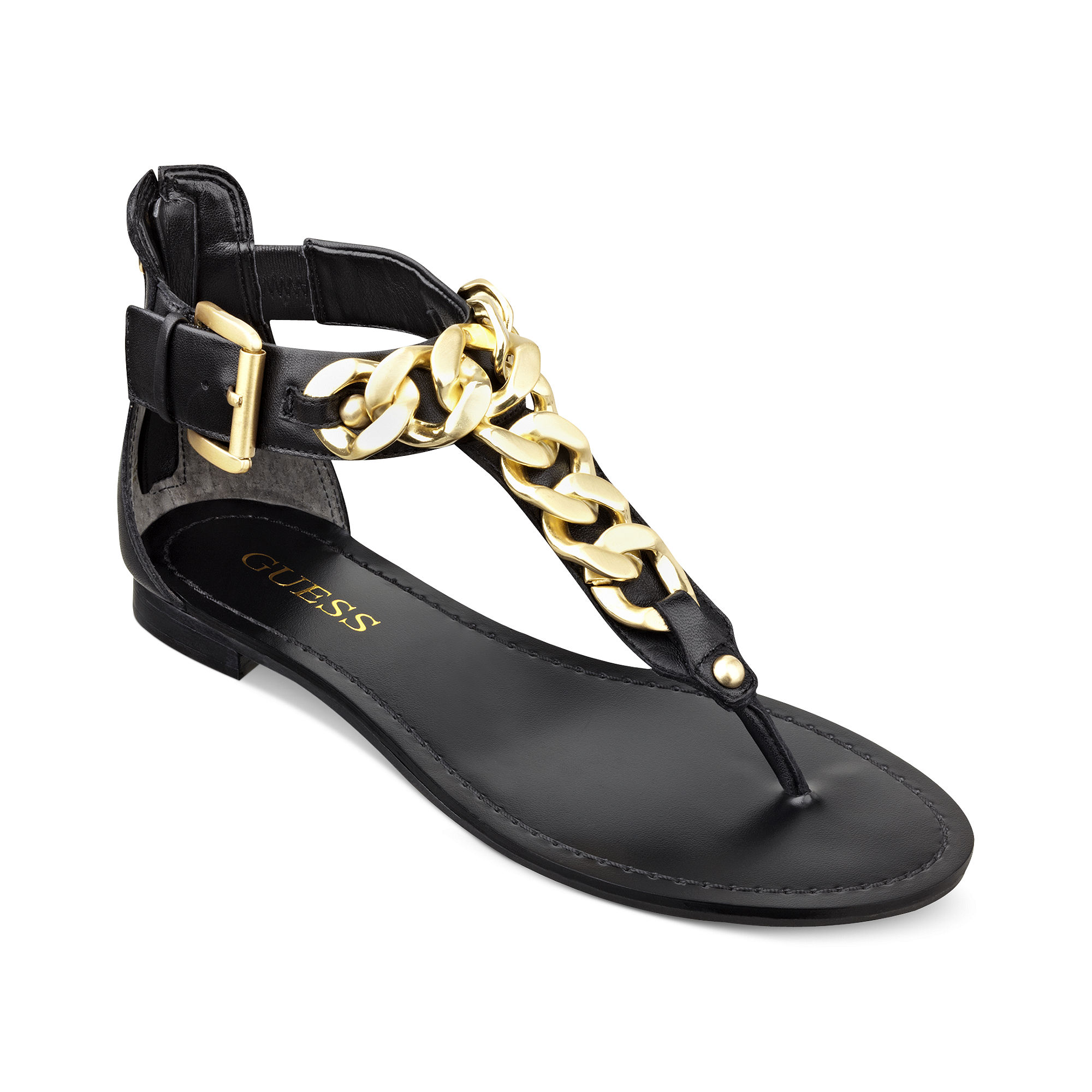 Guess Fiefel Flat Thong Sandals In Black Lyst