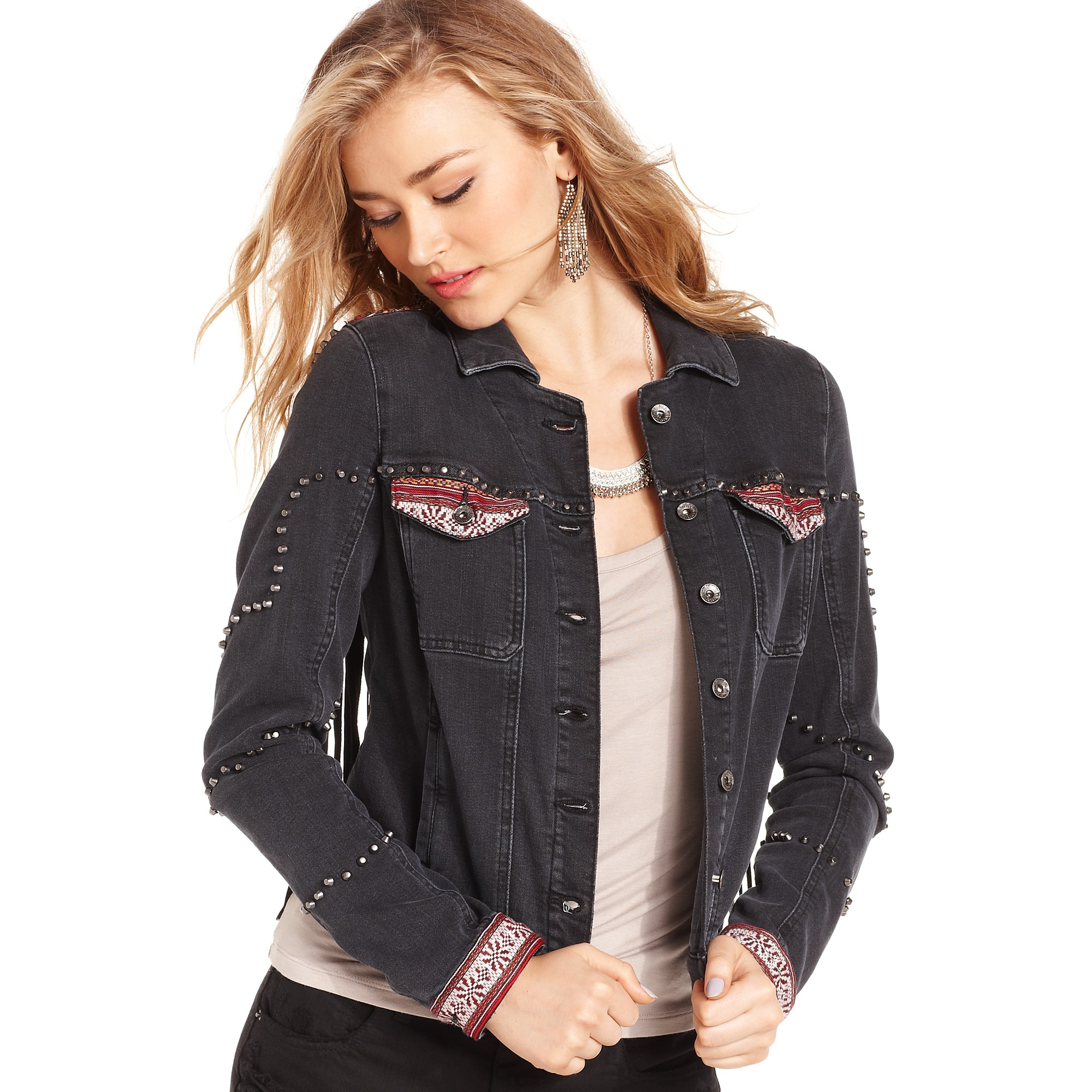 guess jacket brittney fauxleather fringe embroidered studded denim gallery