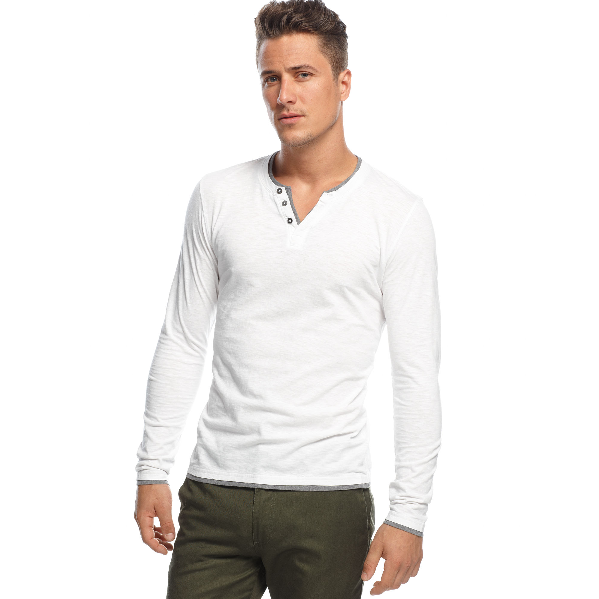 Inc international concepts Long Sleeve Busy Guy Shirt in White for ...