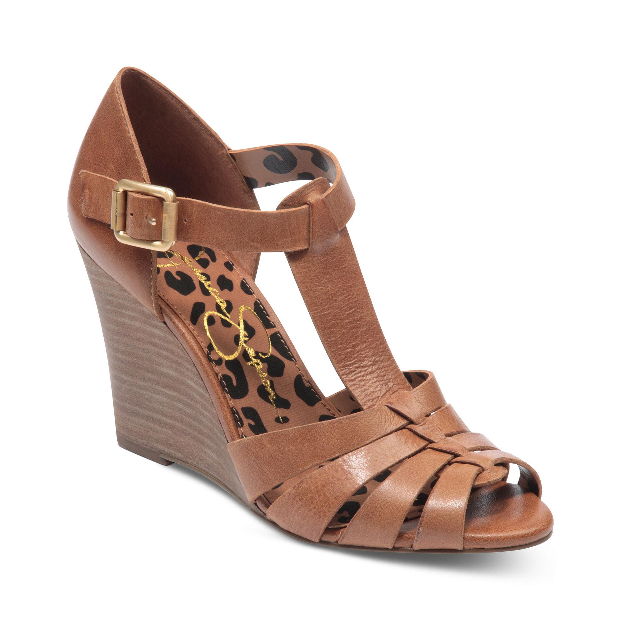 Lyst Jessica Simpson Rebi Tstrap Wedge Sandals In Brown