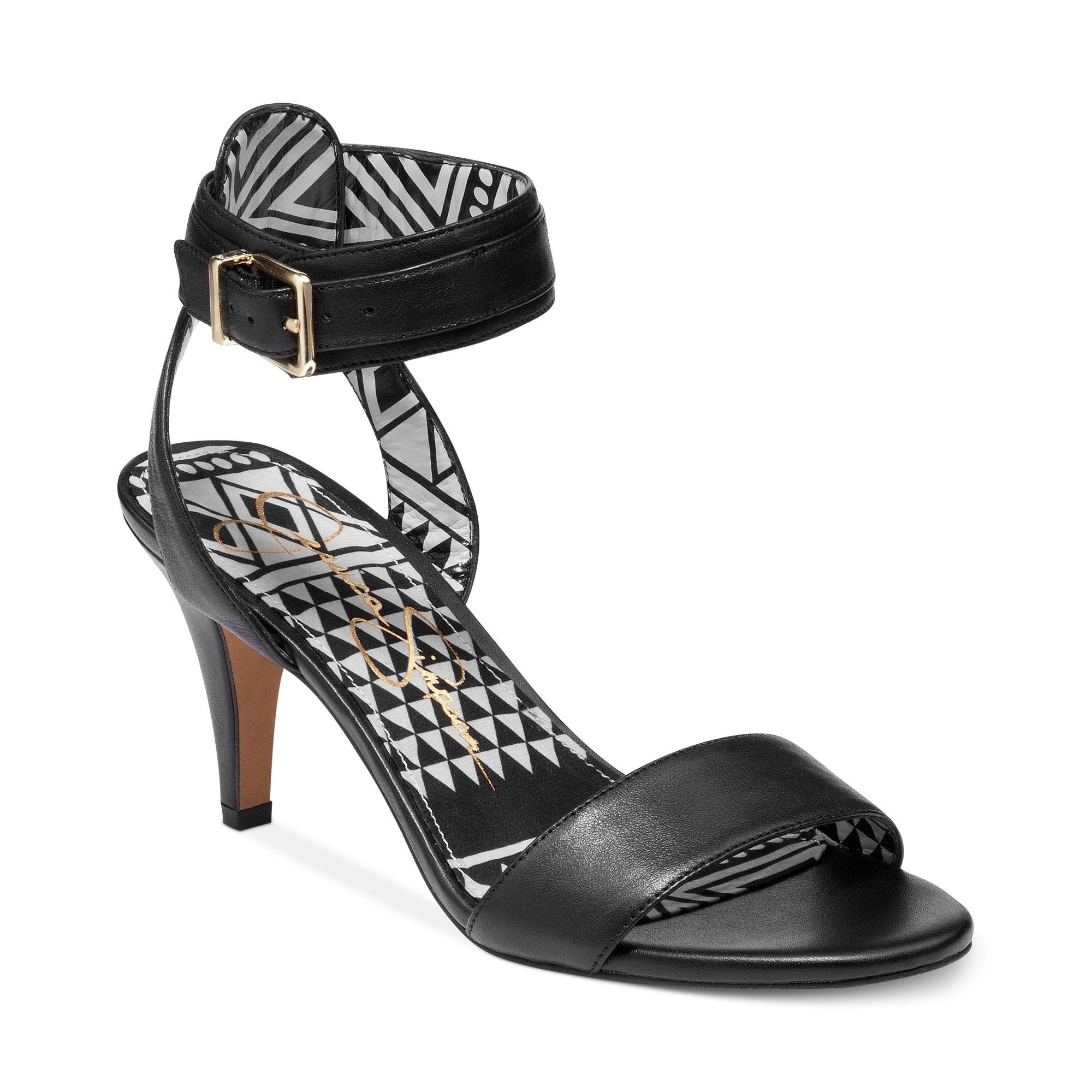 Jessica simpson Erikk Midheel Ankle Strap Sandals in Black | Lyst