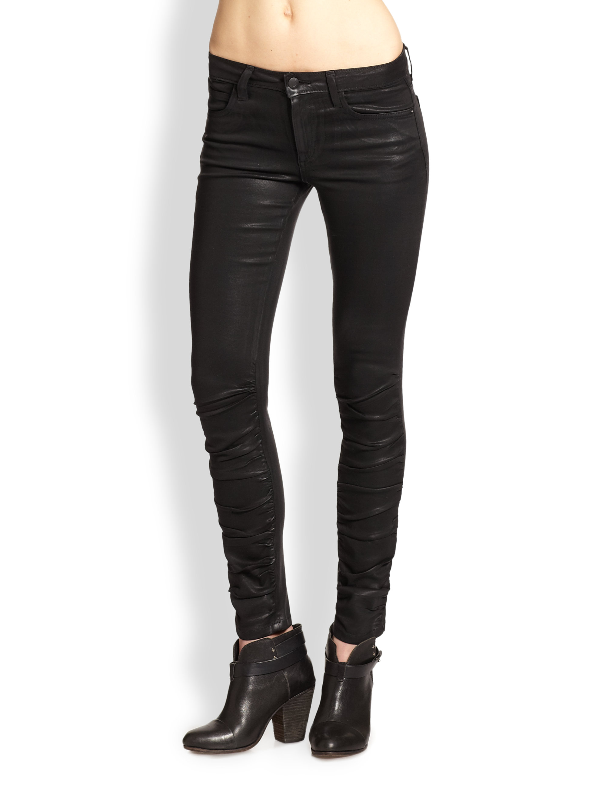 fa451590a4c Lyst - Joe s Jeans Coated Ruched Skinny Jeans in Black