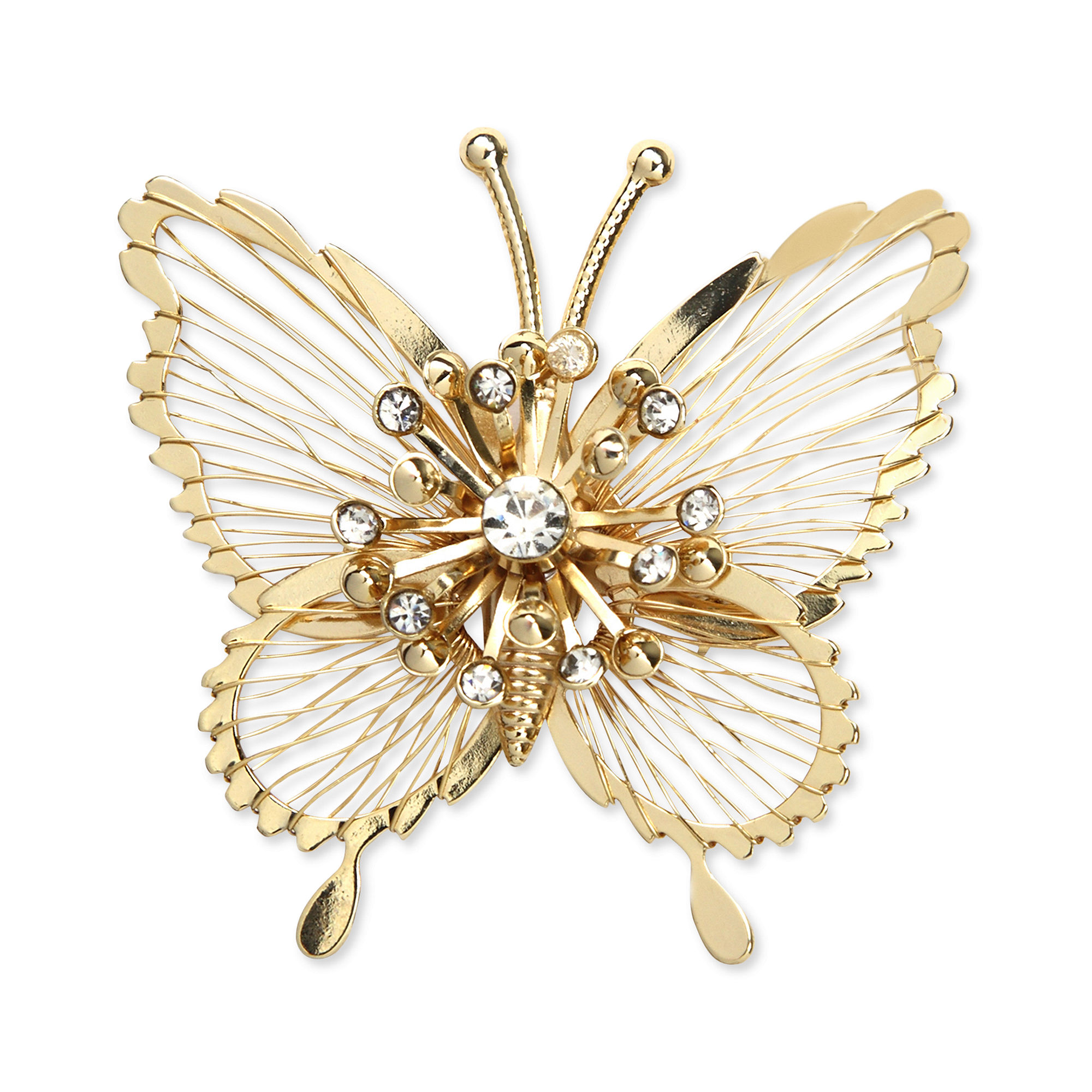 Jones New York Goldtone Crystal Butterfly Pin Box In