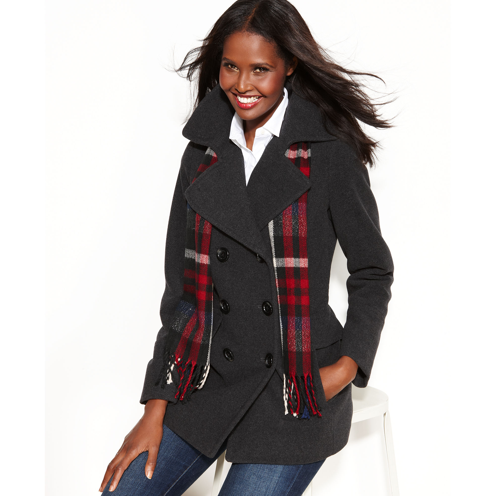 London fog Double Breasted Pea Coat Plaid Scarf in Black | Lyst