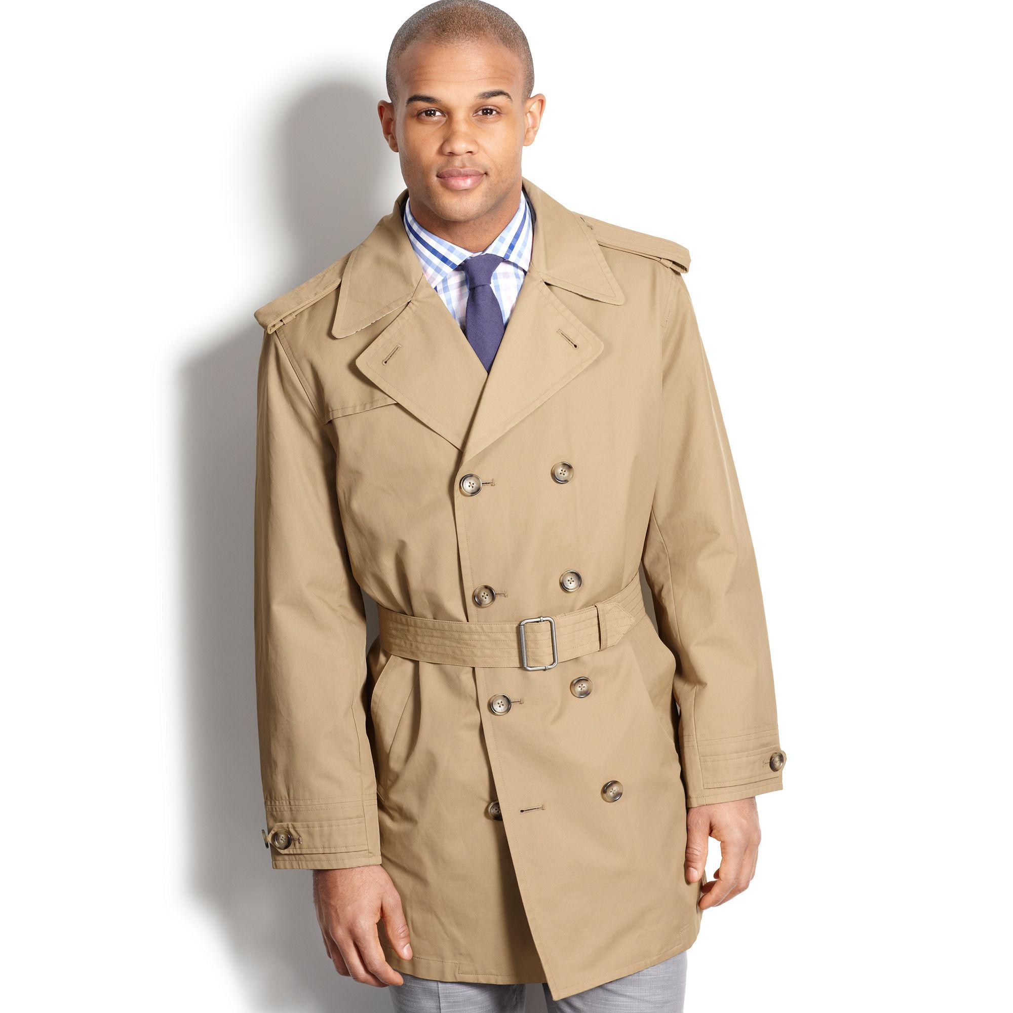 Lyst London Fog Essex Belted Raincoat In Natural For Men