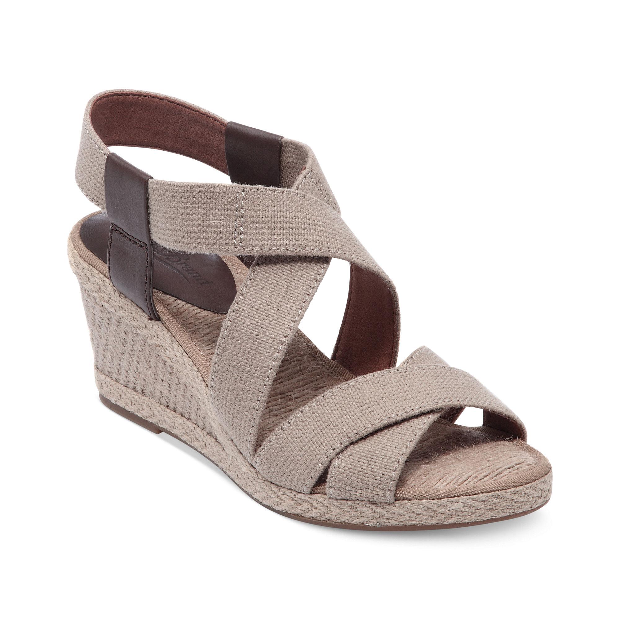 Lucky Brand Keane Platform Wedge Sandals In Beige (khaki)   Lyst