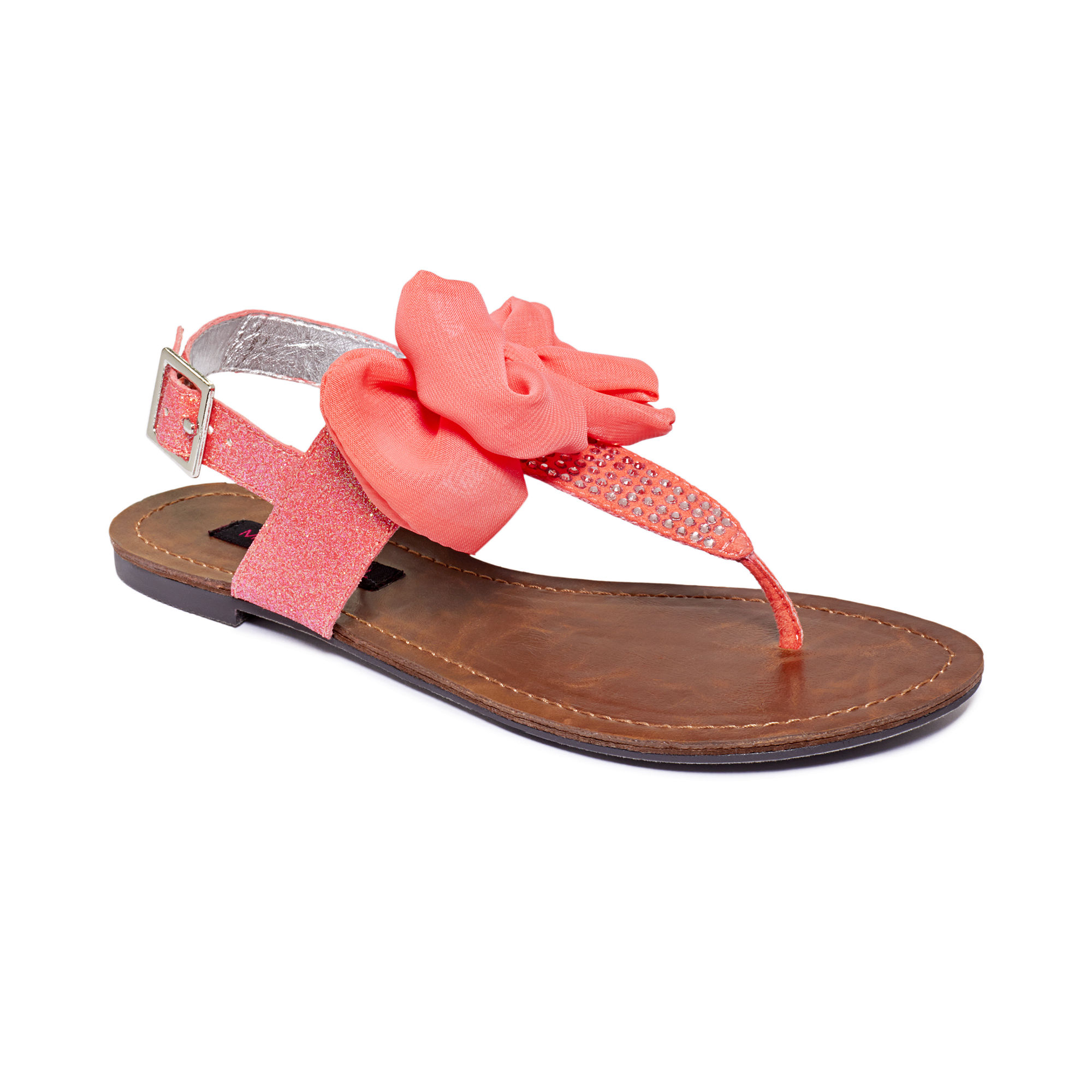 Material Girl Solar Flat Thong Sandals in Pink (black