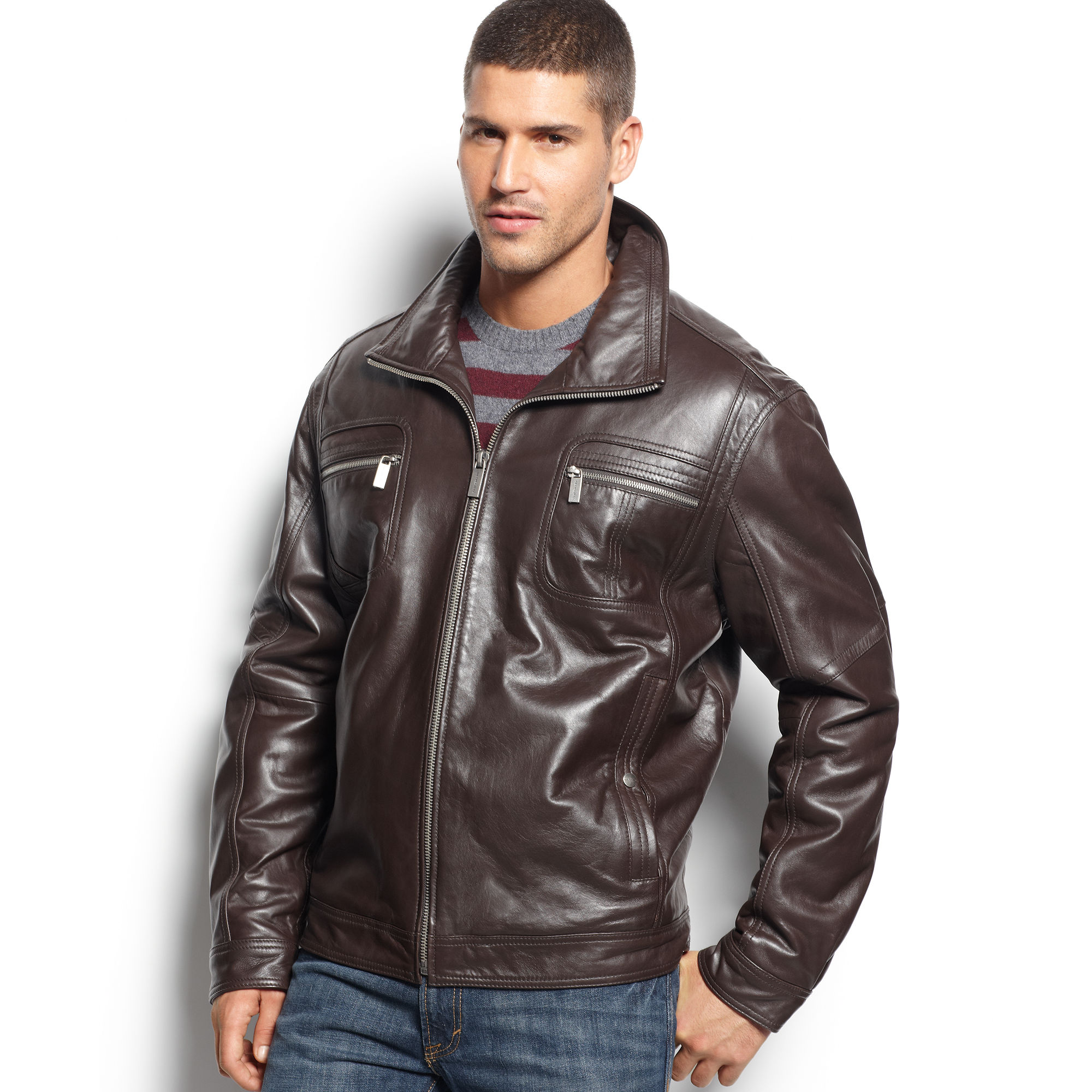 3d74b521d Michael Kors Brown Open Bottom Leather Jacket for men