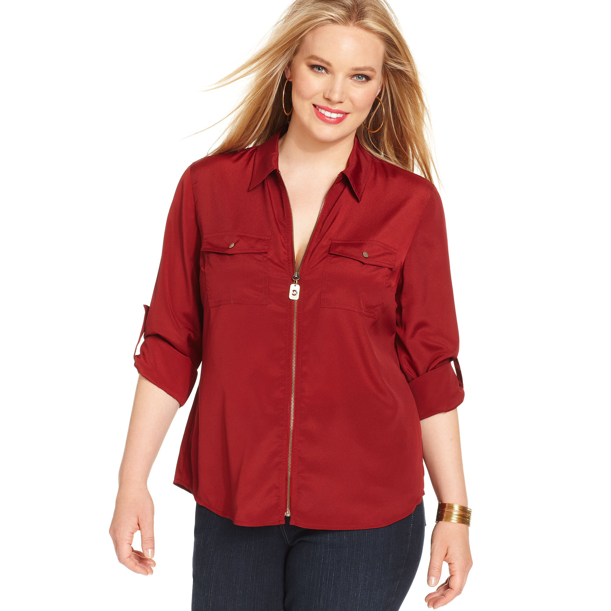 Michael Kors Long Sleeve Zip Front Utility Shirt In Red