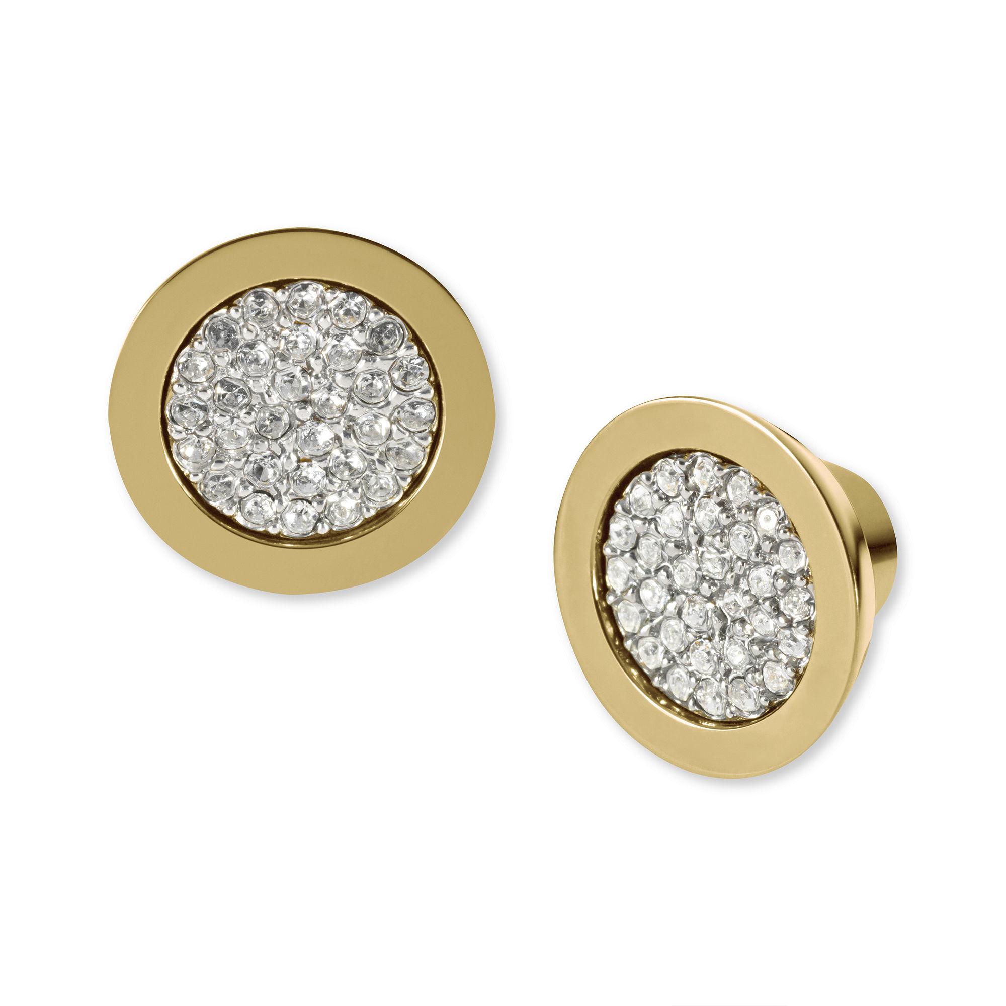 michael kors gold tone pave slice stud earrings in. Black Bedroom Furniture Sets. Home Design Ideas