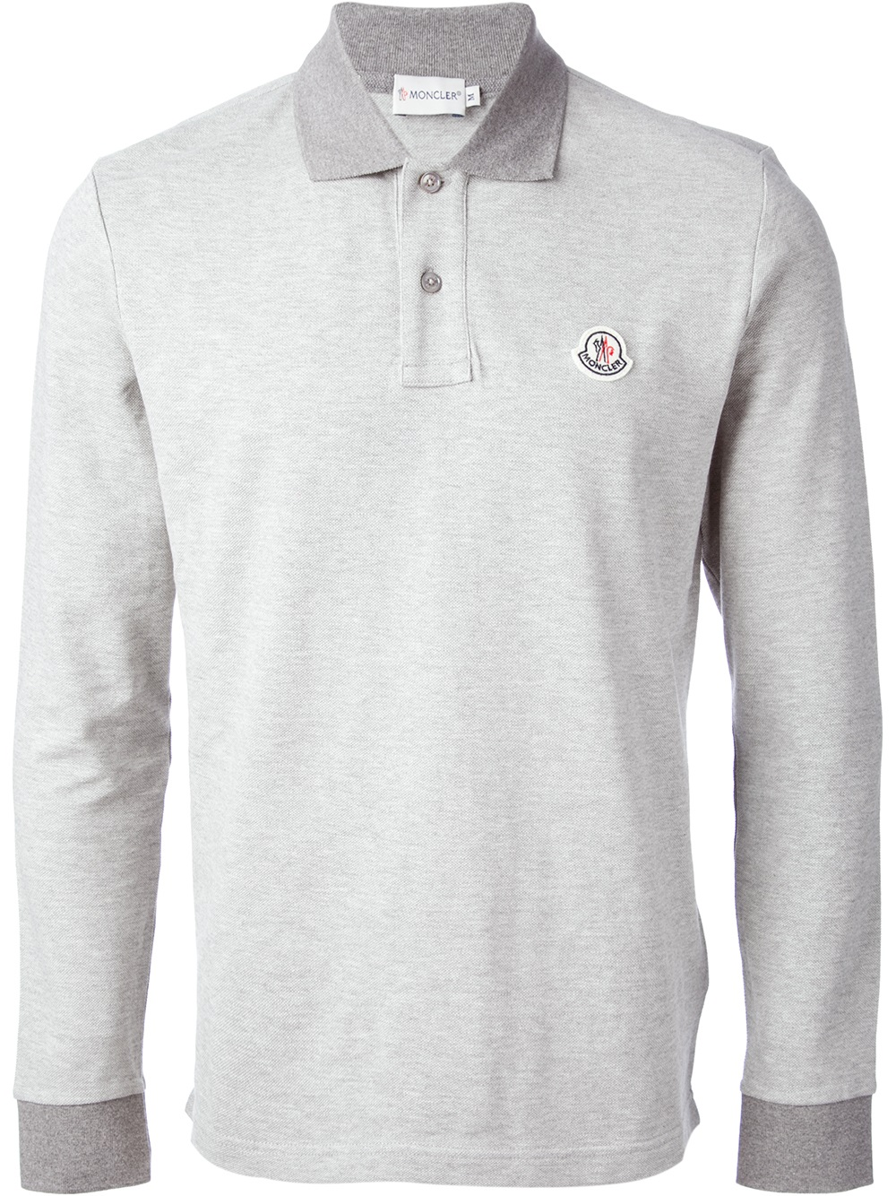 5354a1faf188 Shirt Lyst Moncler Sleeve Gray In Long Men Polo For wrIqxAr6