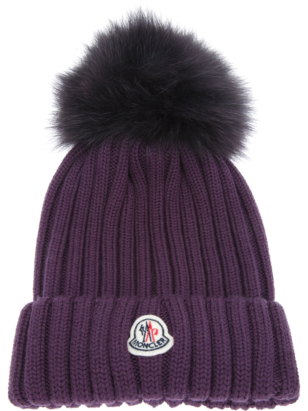 c481984c841 Lyst - Moncler Ribbed Knit Beanie Hat in Purple