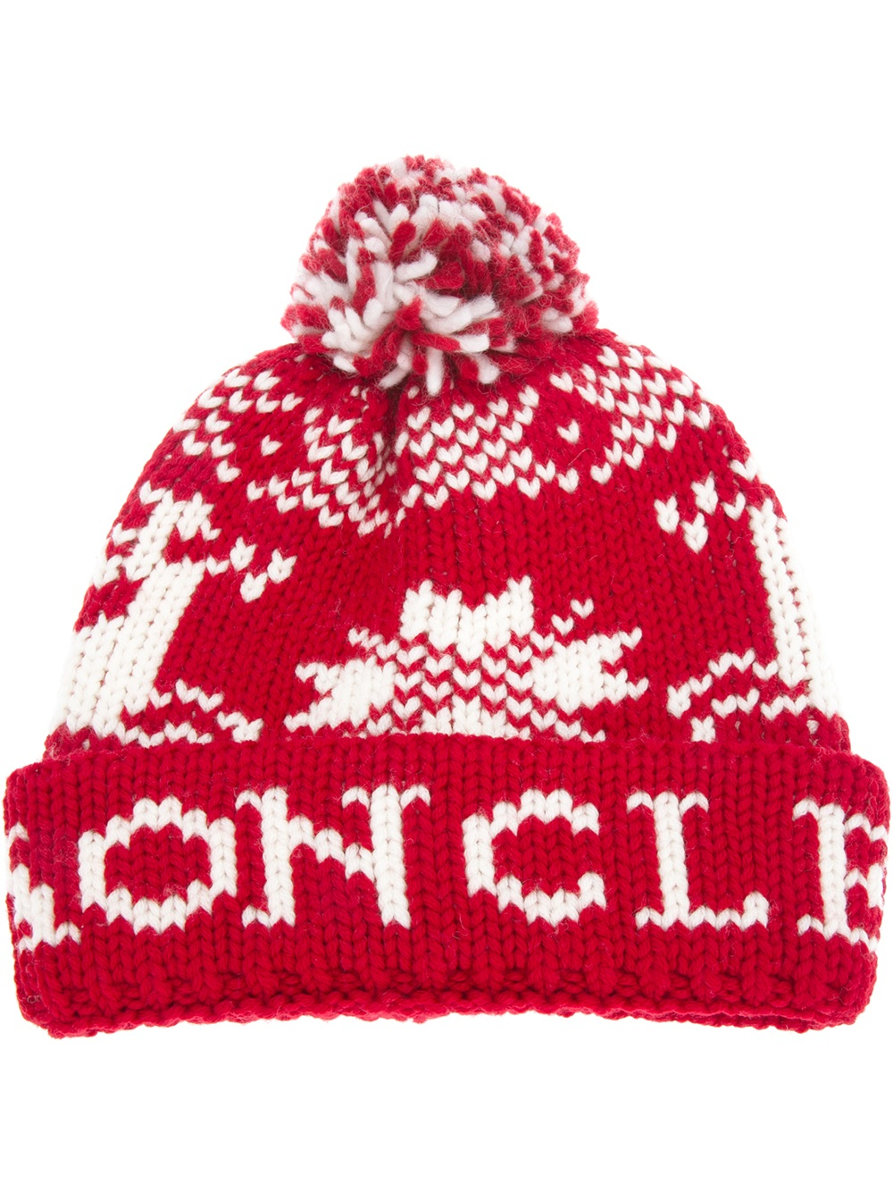 ... amazon 23b4e ef372 Lyst - Moncler Fair Isle Beanie Hat in Red for Men  ... 212aa4d4ace2
