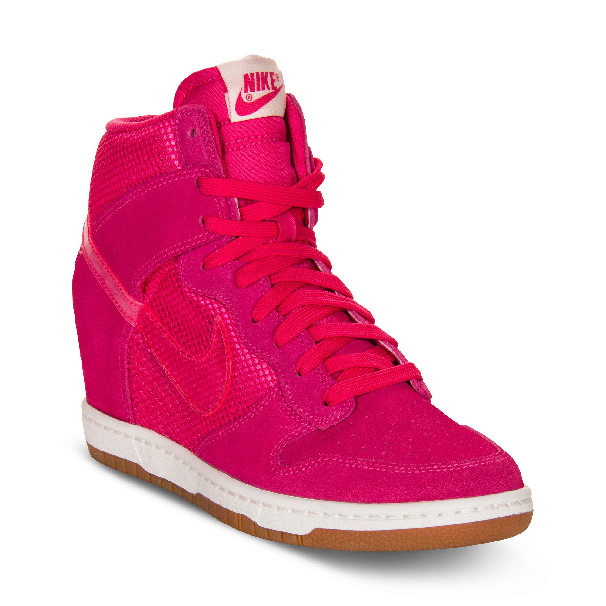 nike dunk sky hi sneakers in pink pink force lyst. Black Bedroom Furniture Sets. Home Design Ideas