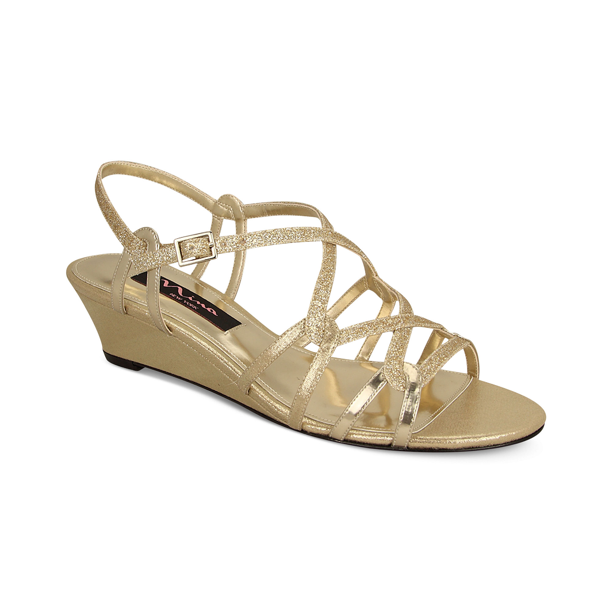 foley evening wedge sandals in gold platino