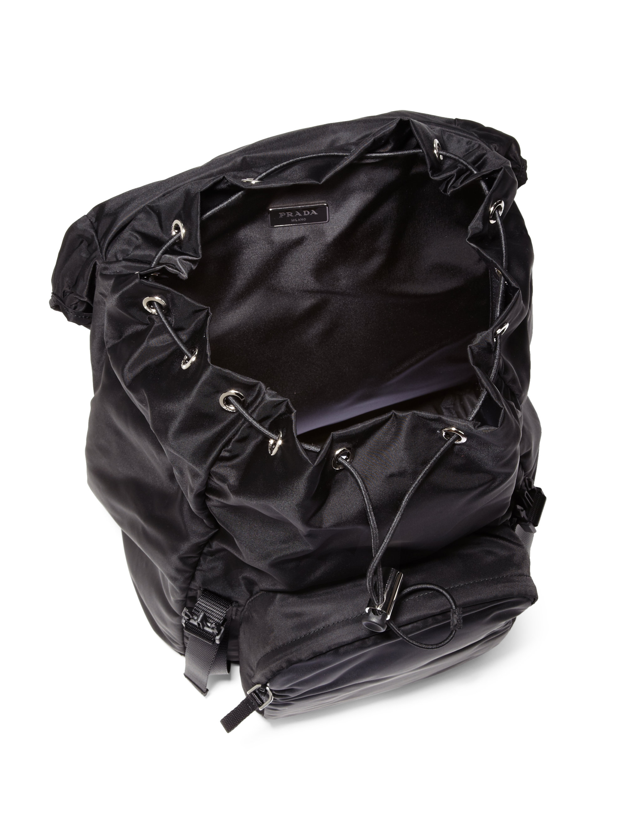 8db51de8c377 ... closeout lyst prada nylon backpack in black for men 21c27 091b6