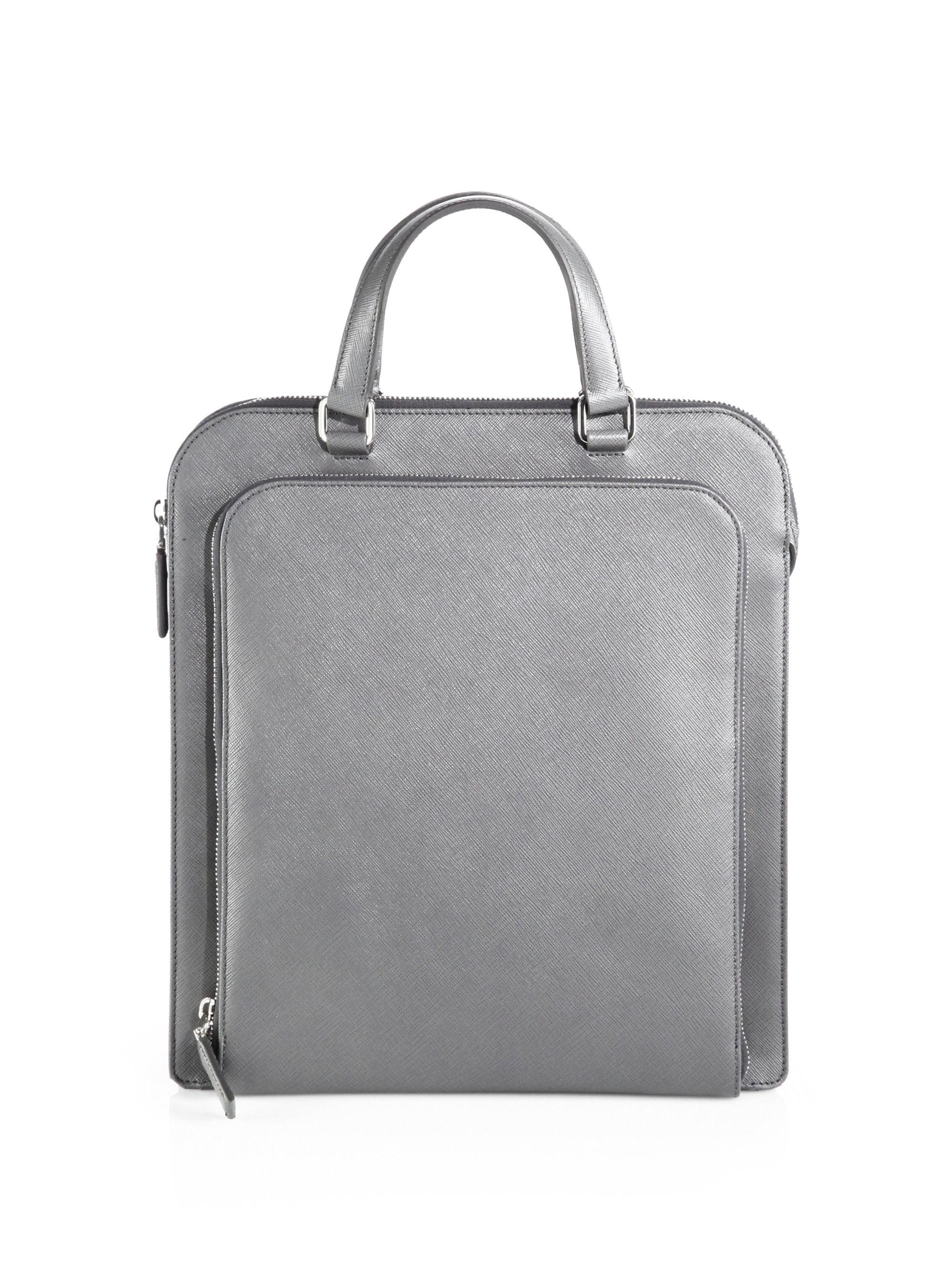 6092eeec9ac5 ... best lyst prada saffiano travel tote in gray for men 9b213 e51c3