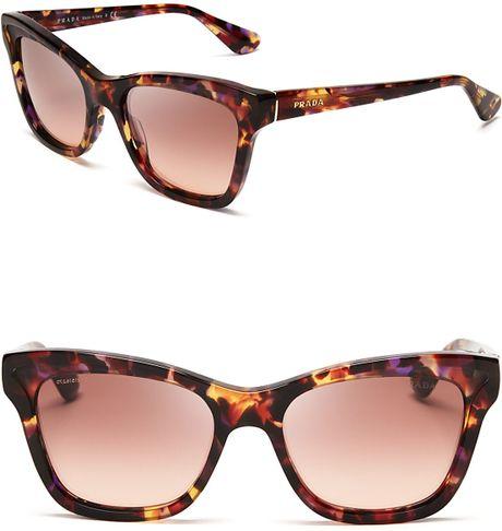 Prada Layered Cat Eye Sunglasses in Brown  Havana Spotted Pink Prada Cat Eye Sunglasses 2013