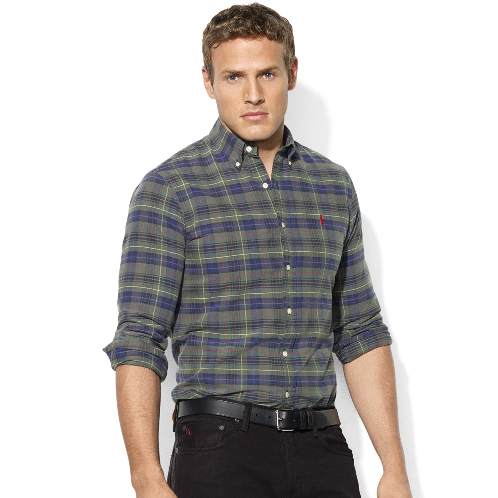 ralph lauren classicfit plaid cotton oxford shirt in blue. Black Bedroom Furniture Sets. Home Design Ideas
