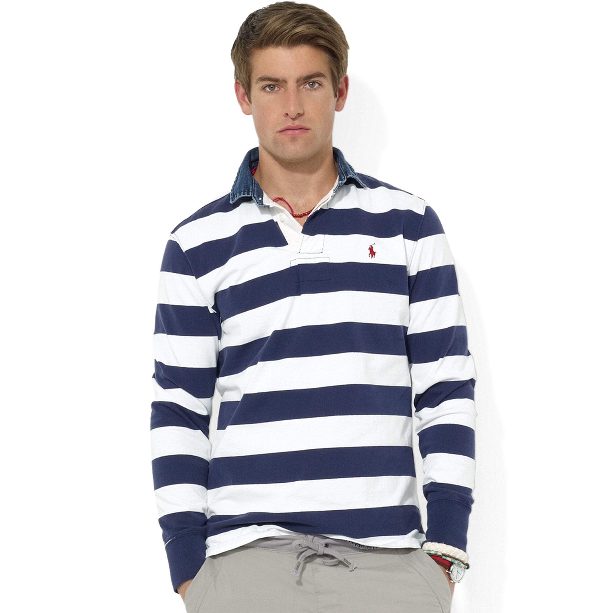 ralph lauren customfit longsleeve striped jersey rugby in blue for men druid navy lyst. Black Bedroom Furniture Sets. Home Design Ideas