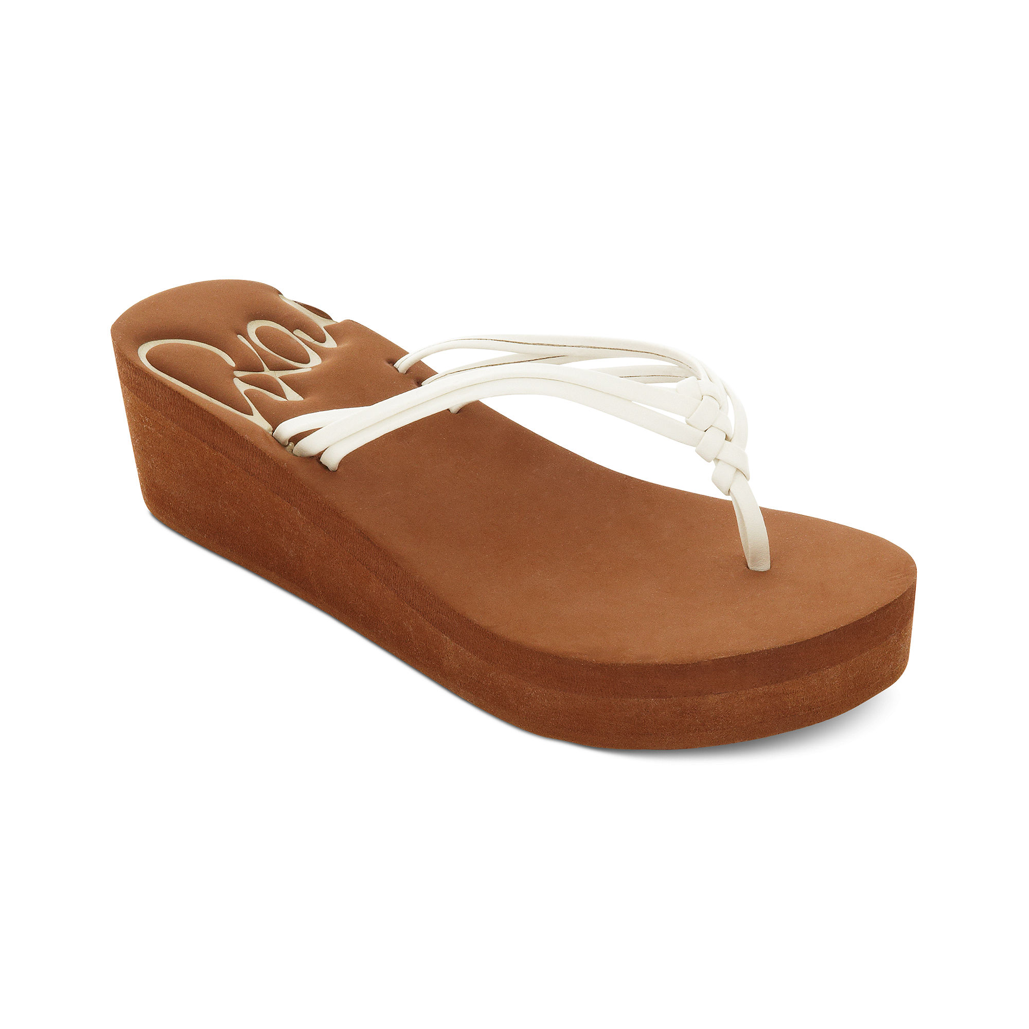 Roxy Palmilla Platform Wedge Thong Sandals In White Lyst