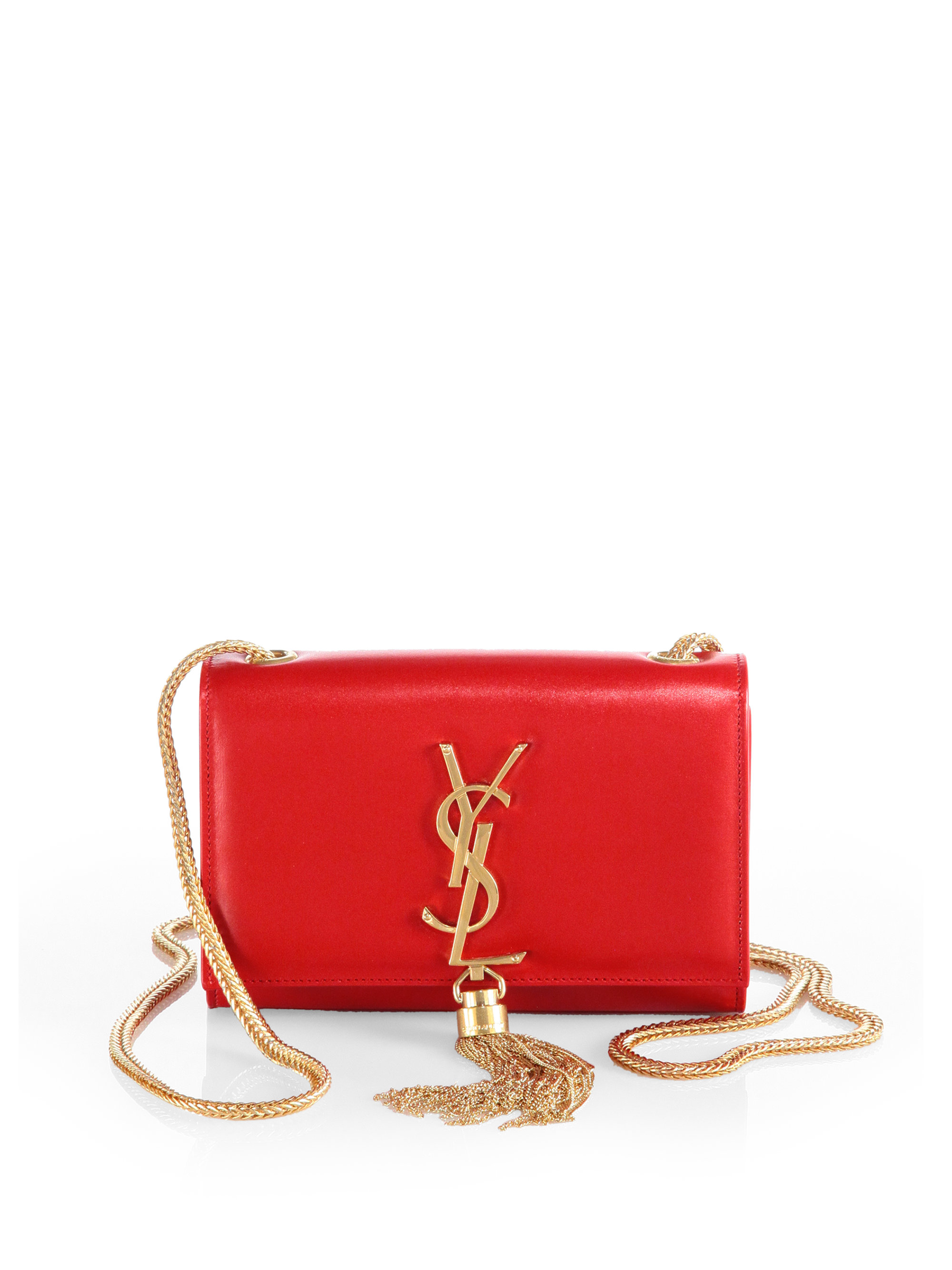 saint laurent cassandre tassel small shoulder bag in red