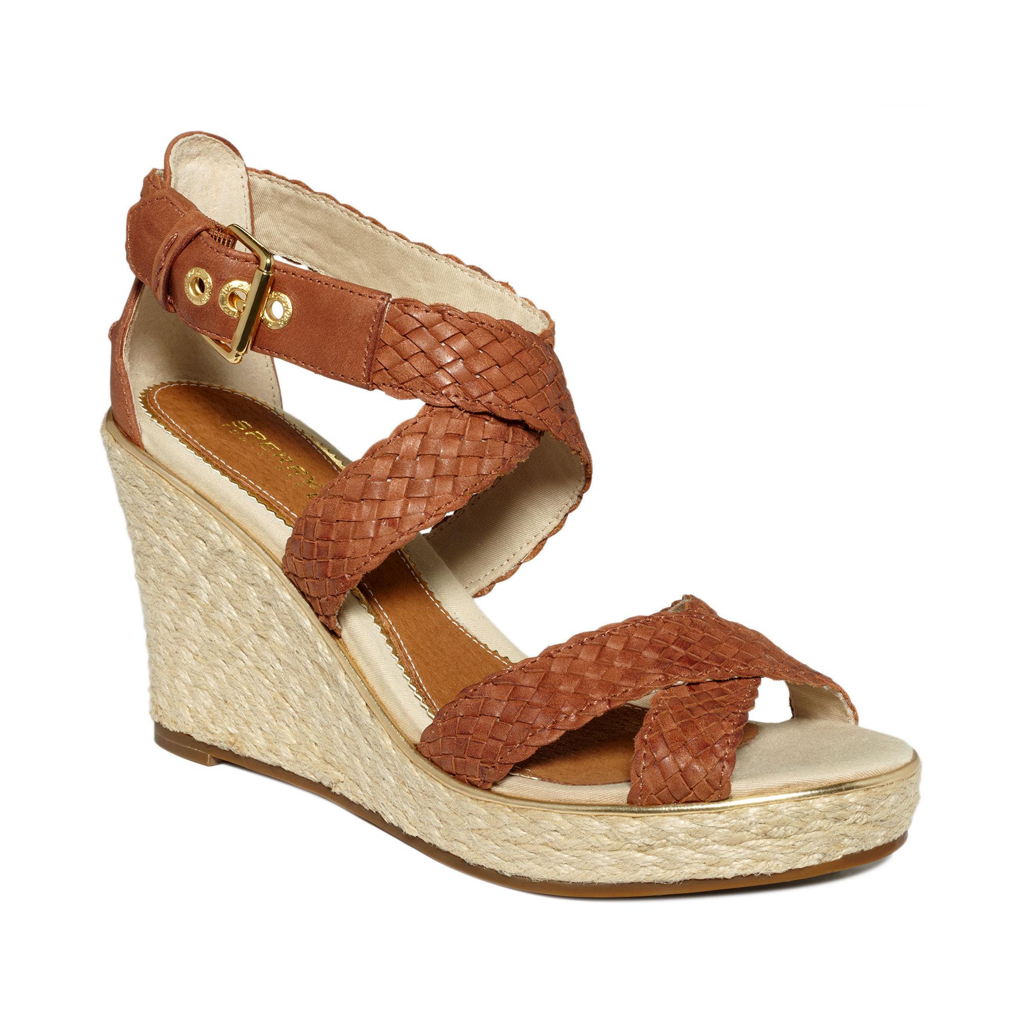 sperry top sider harbordale platform wedge sandals in