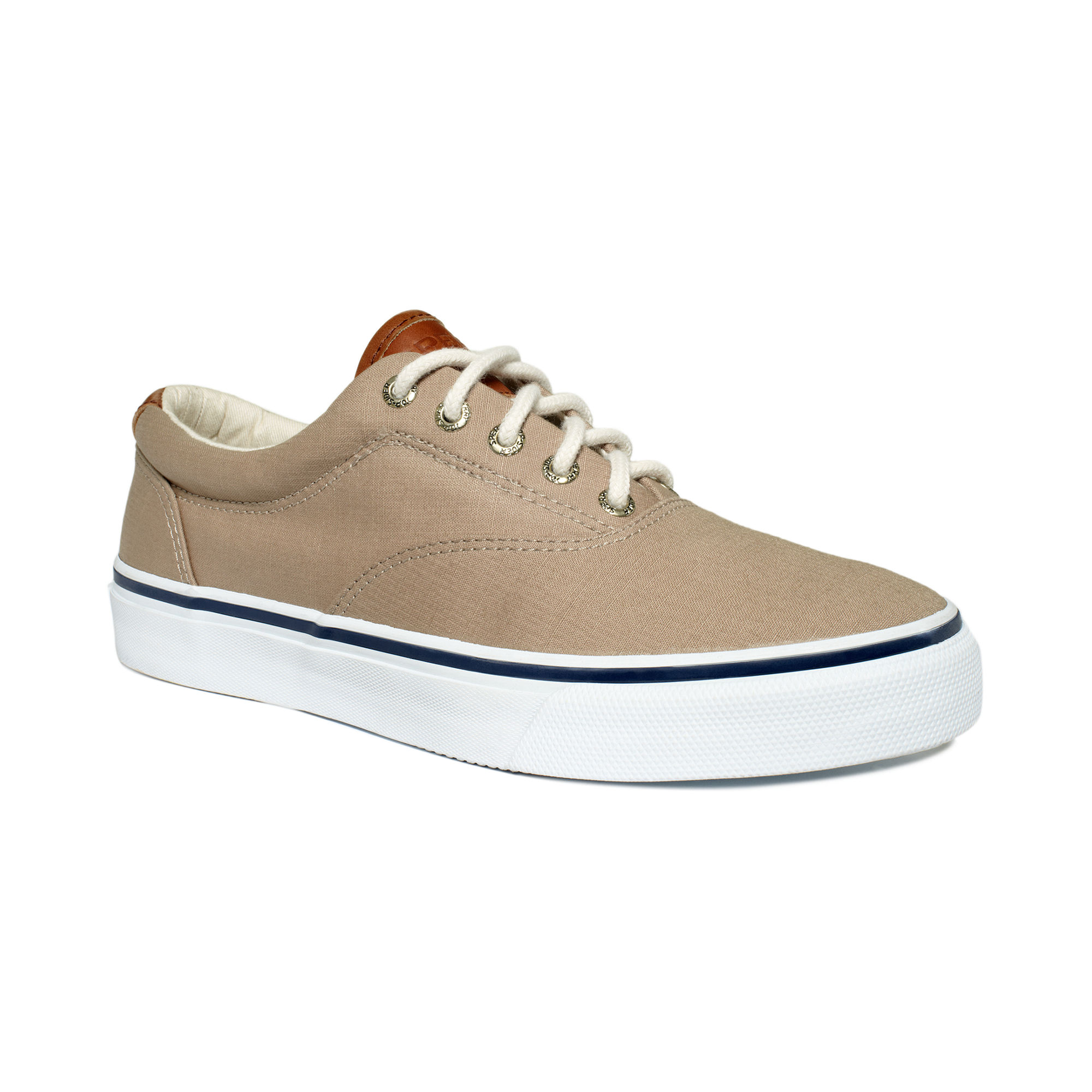 sperry top sider striper laceless canvas shoes in beige