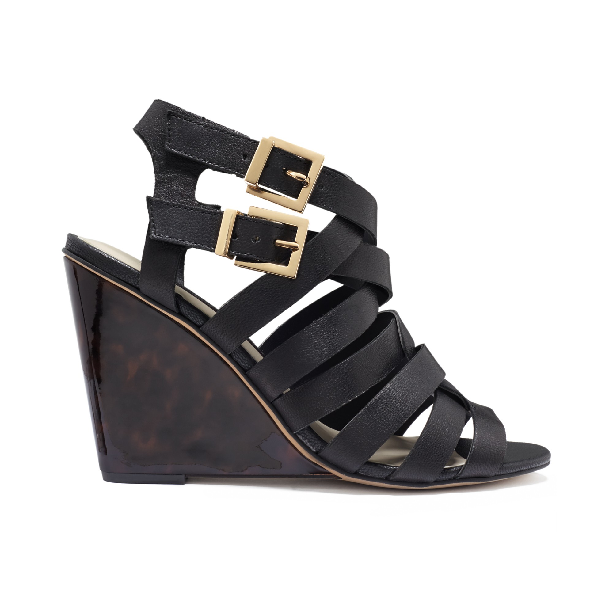 steven by steve madden midori wedge sandals in black blush leather lyst. Black Bedroom Furniture Sets. Home Design Ideas