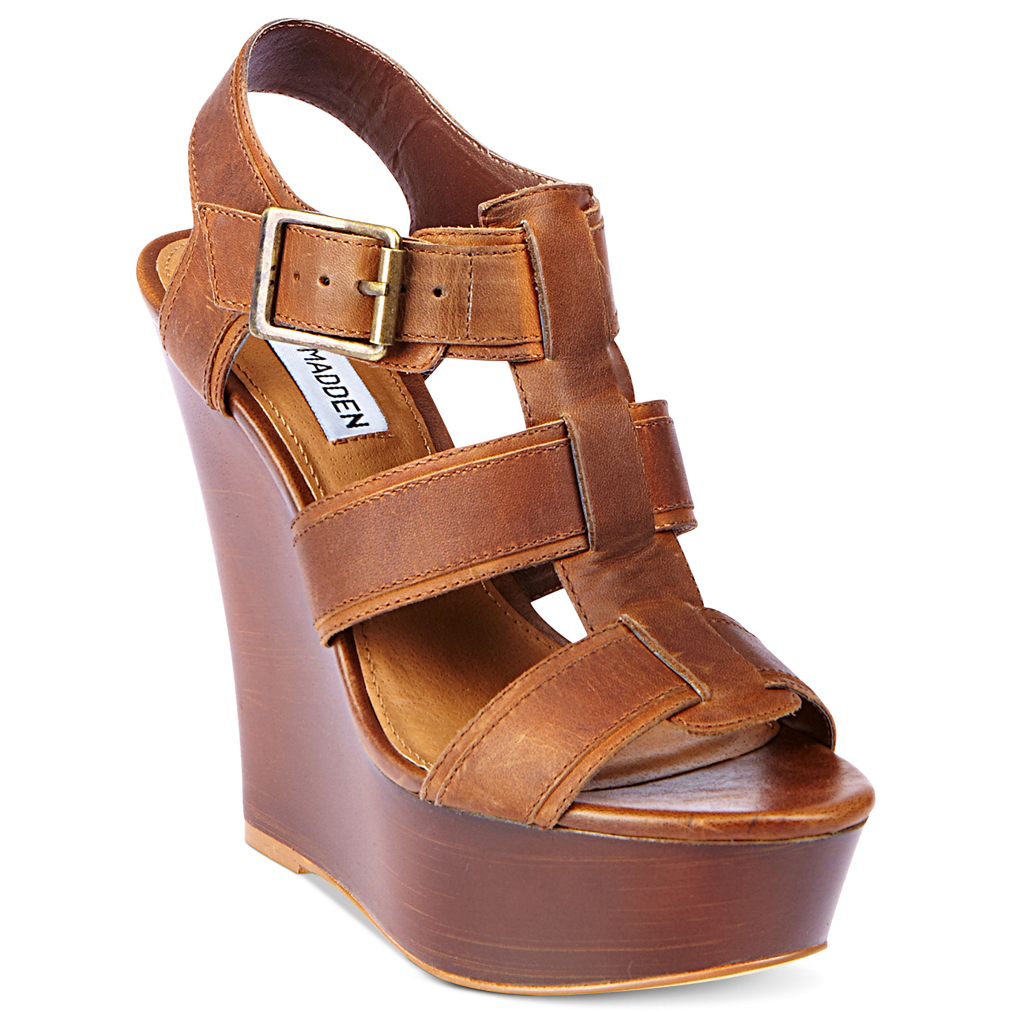 steve madden wanting platform wedge sandals in brown cognac lyst. Black Bedroom Furniture Sets. Home Design Ideas