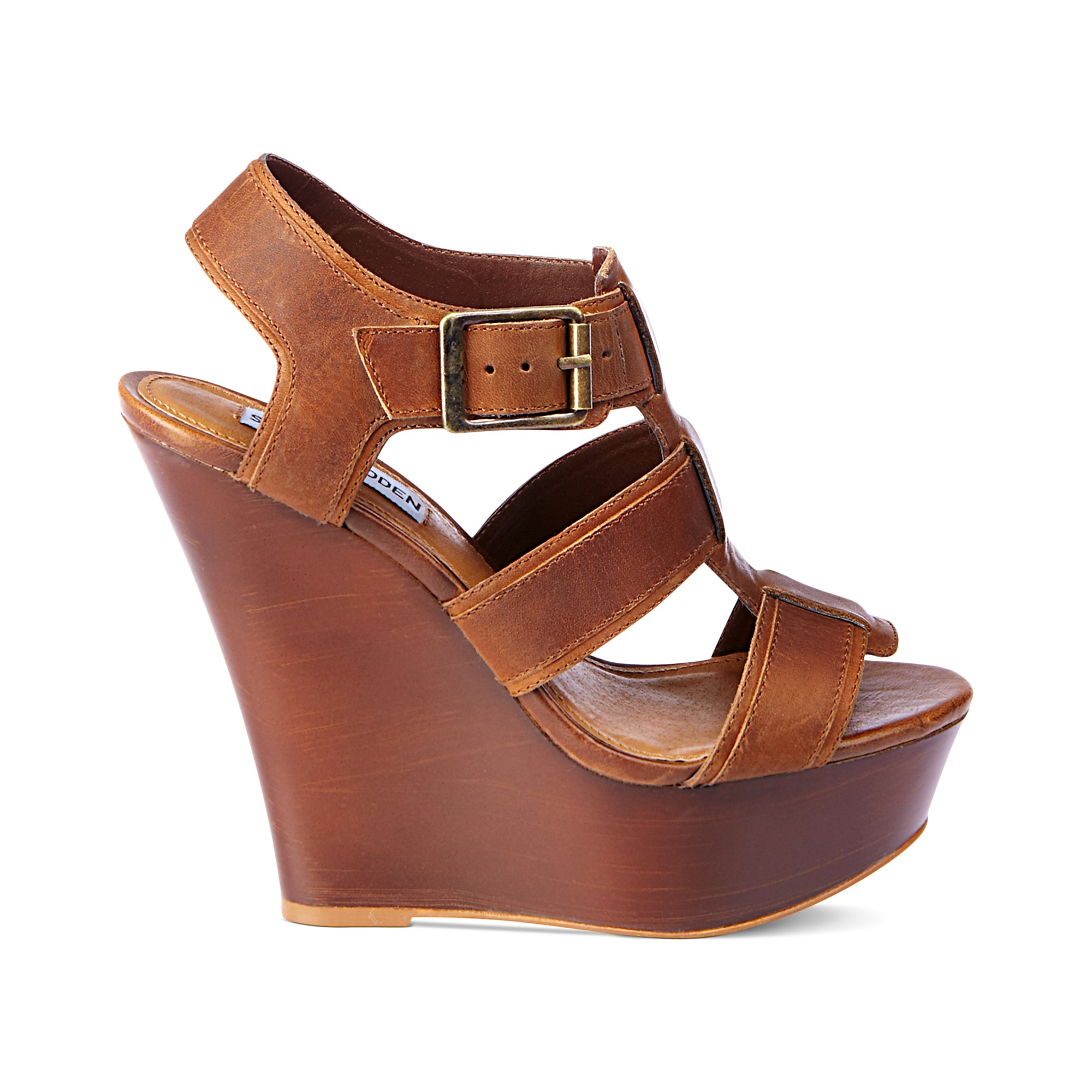 43c6054ce11 Steve Madden Brown Wanting Platform Wedge Sandals
