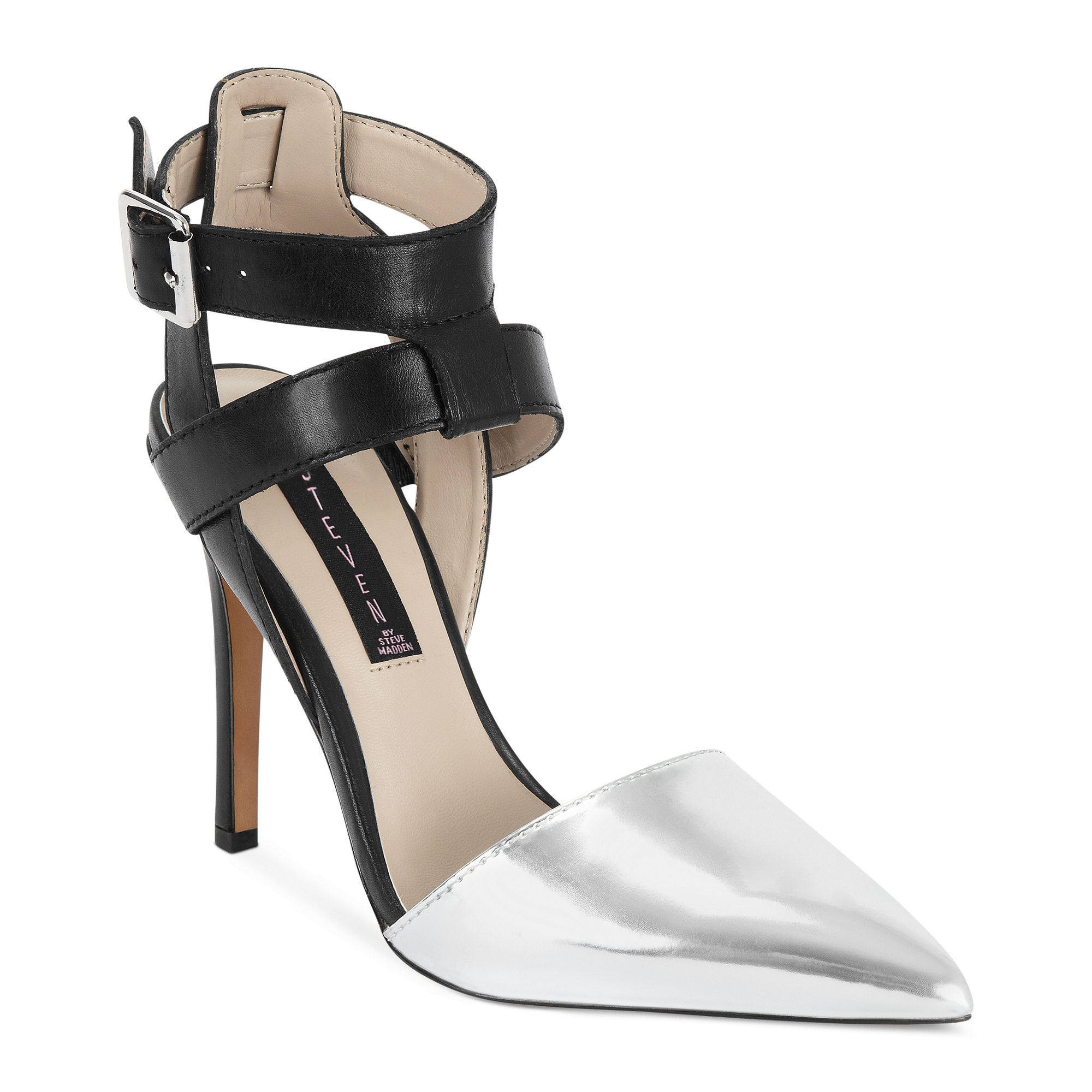 Silver Closed Toe Shoes With Ankle Strap